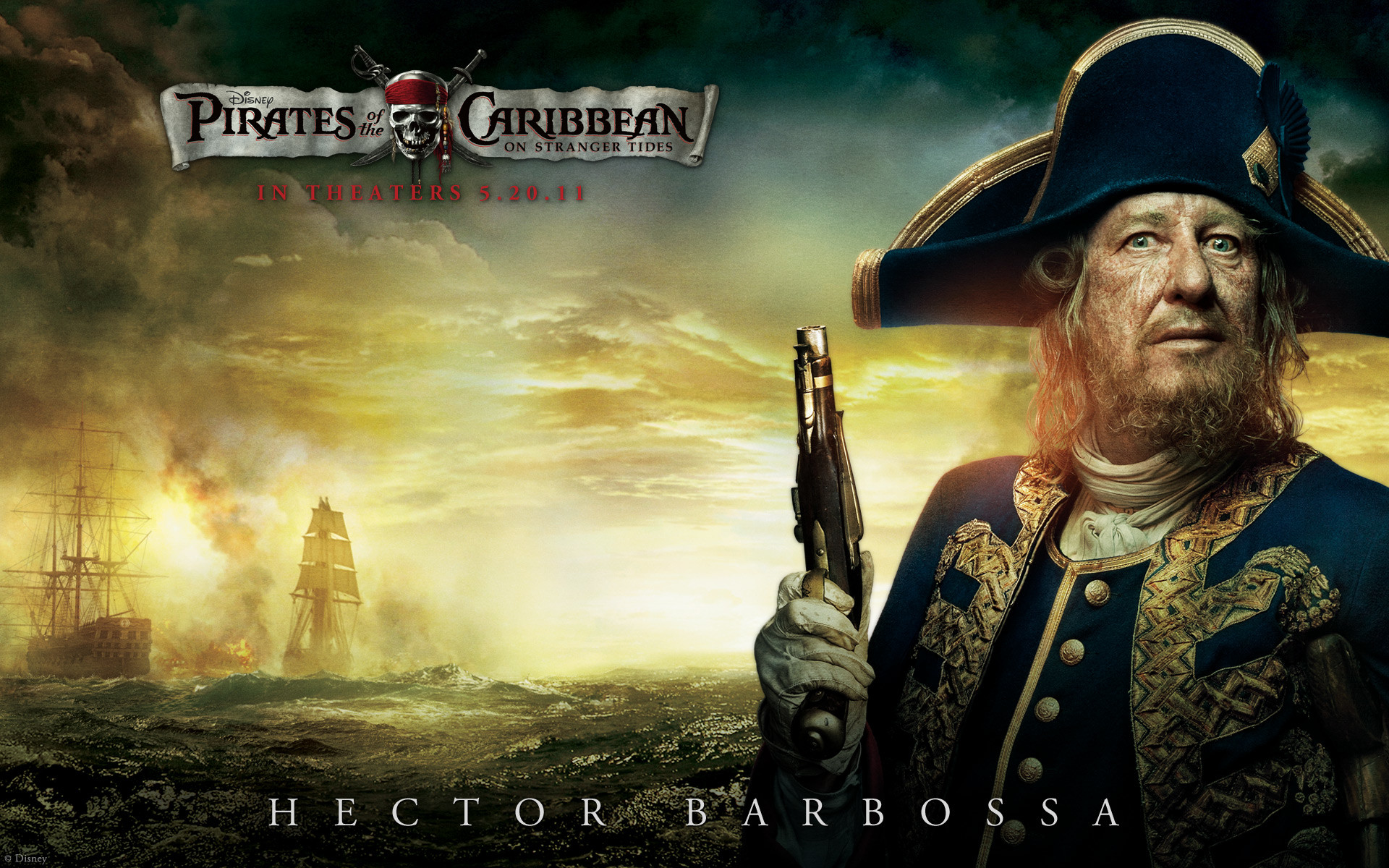 Captain Barbossa from Pirates of the Caribbean 4 On Stranger Tides HD  Wallpaper