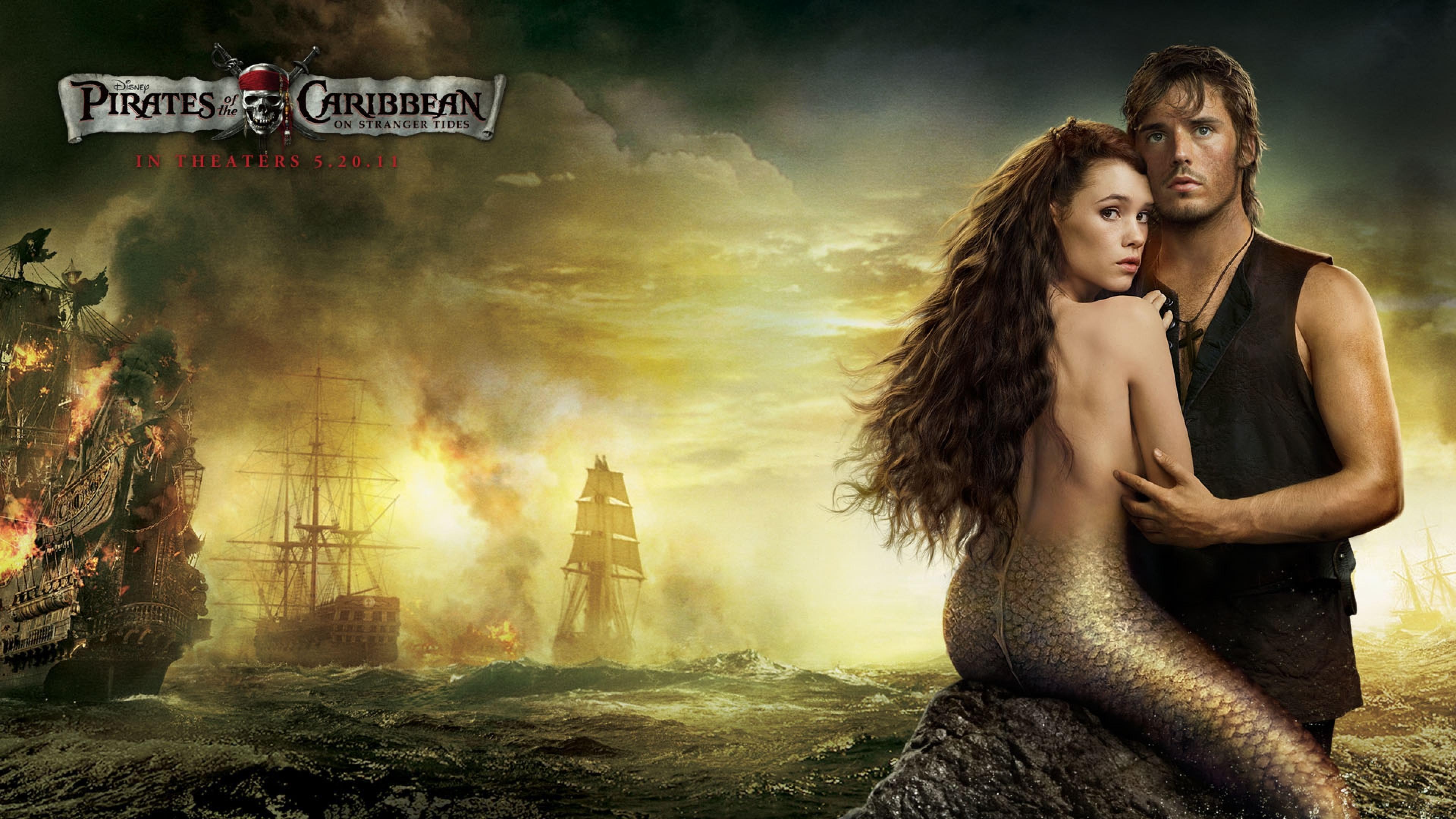 Preview wallpaper pirates of caribbean sea, mermaid, guy, ships, sea  3840×2160