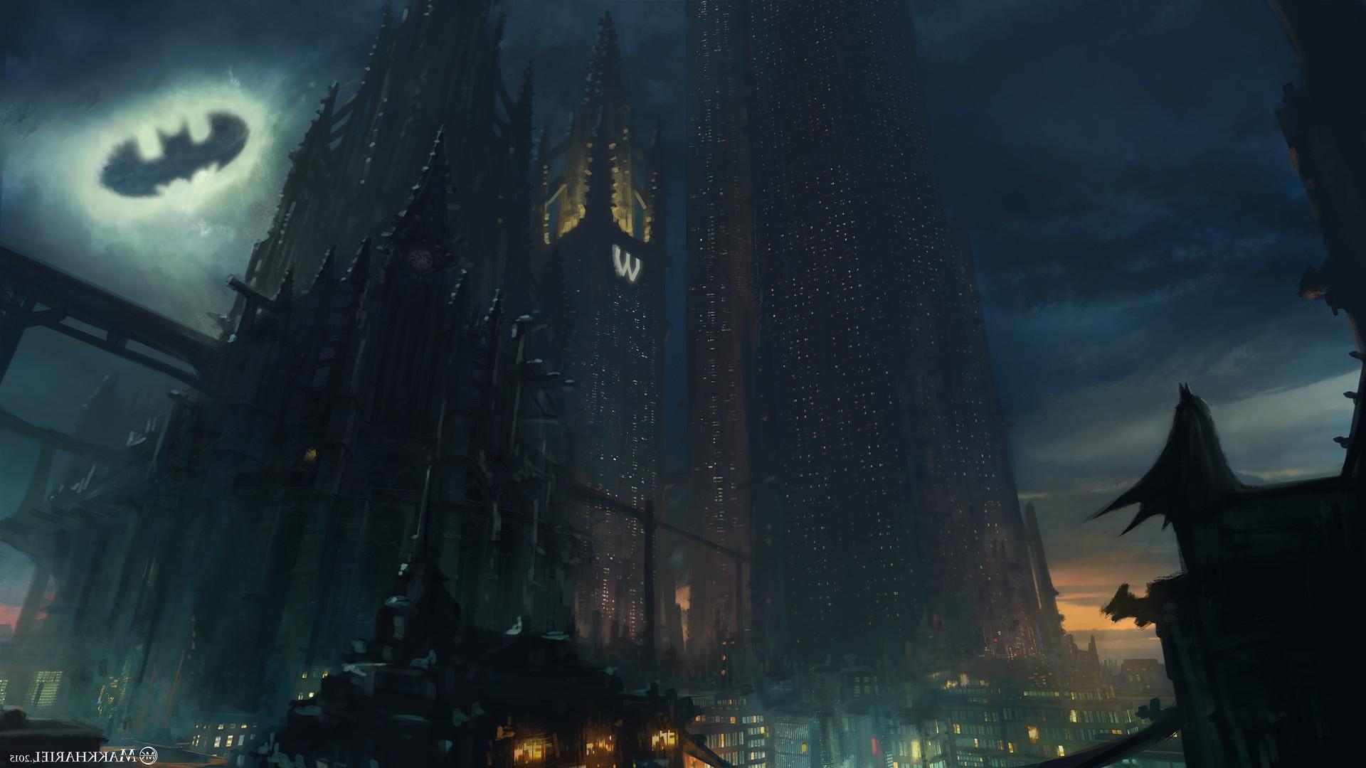 Batman, Artwork, Concept Art, Gotham City, DC Comics, Superhero, Skyscraper  Wallpapers HD / Desktop and Mobile Backgrounds