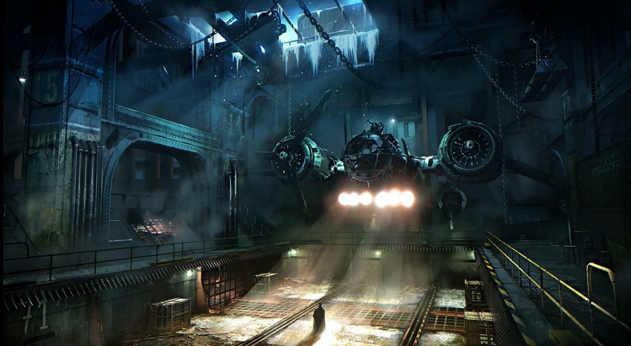 Batman aircraft gotham city artwork arkham origins (2048×1125, aircraft,  gotham, city,
