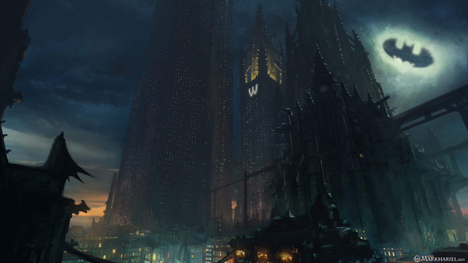 General Batman artwork concept art Gotham City DC Comics  superhero skyscraper