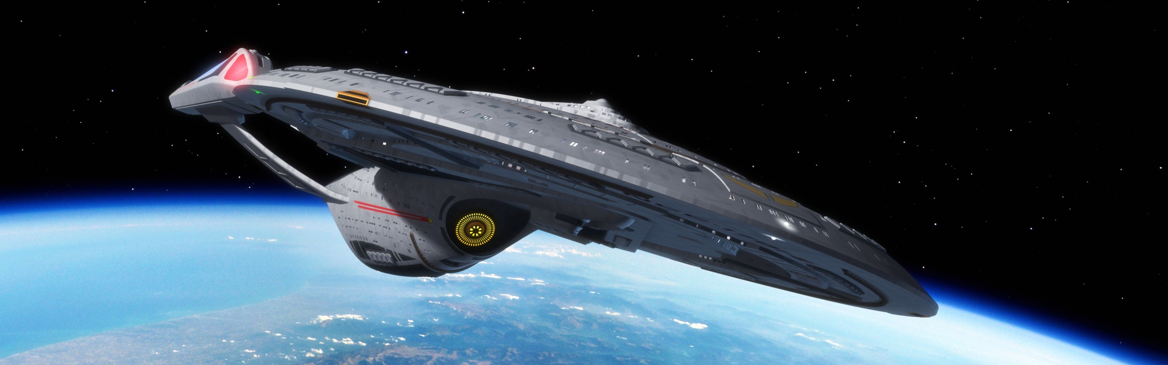 General Star Trek USS Enterprise (spaceship) space multiple  display dual monitors