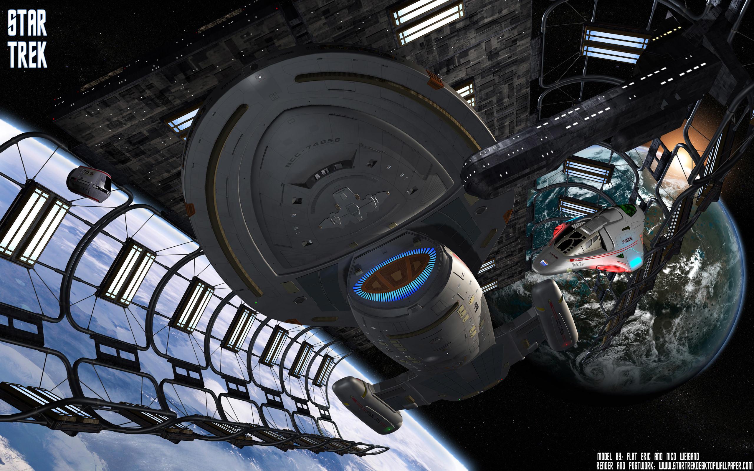 Star Trek USS Voyager NCC 74656 In DryDock, free Star Trek .