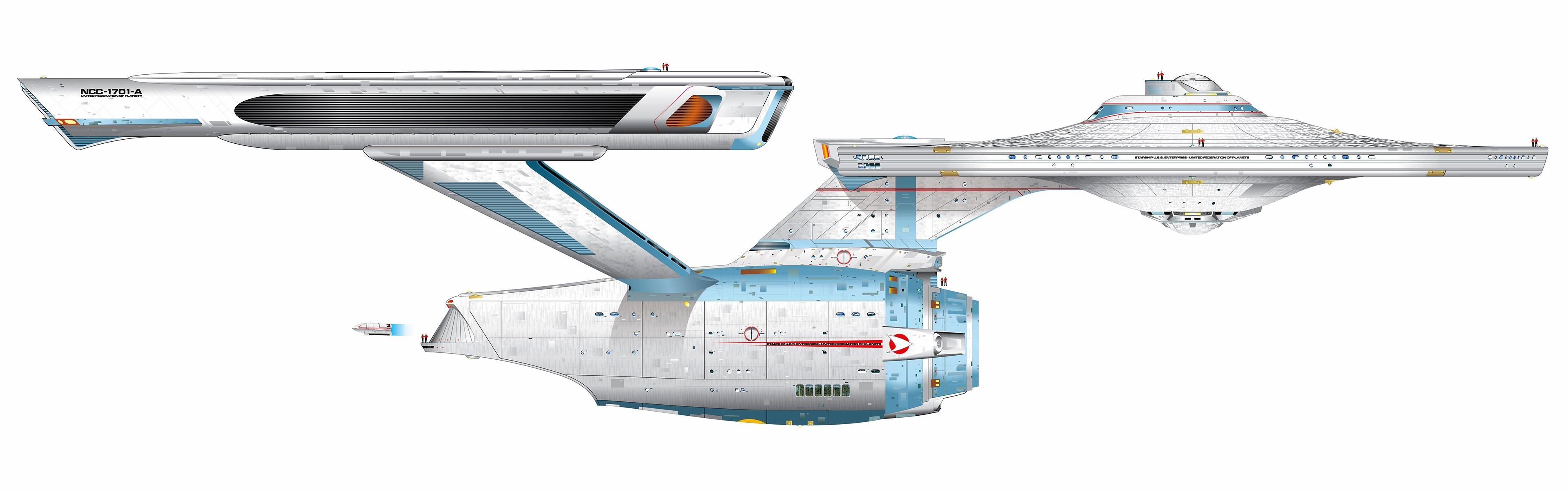 General Star Trek USS Enterprise (spaceship) multiple display  simple background dual monitors