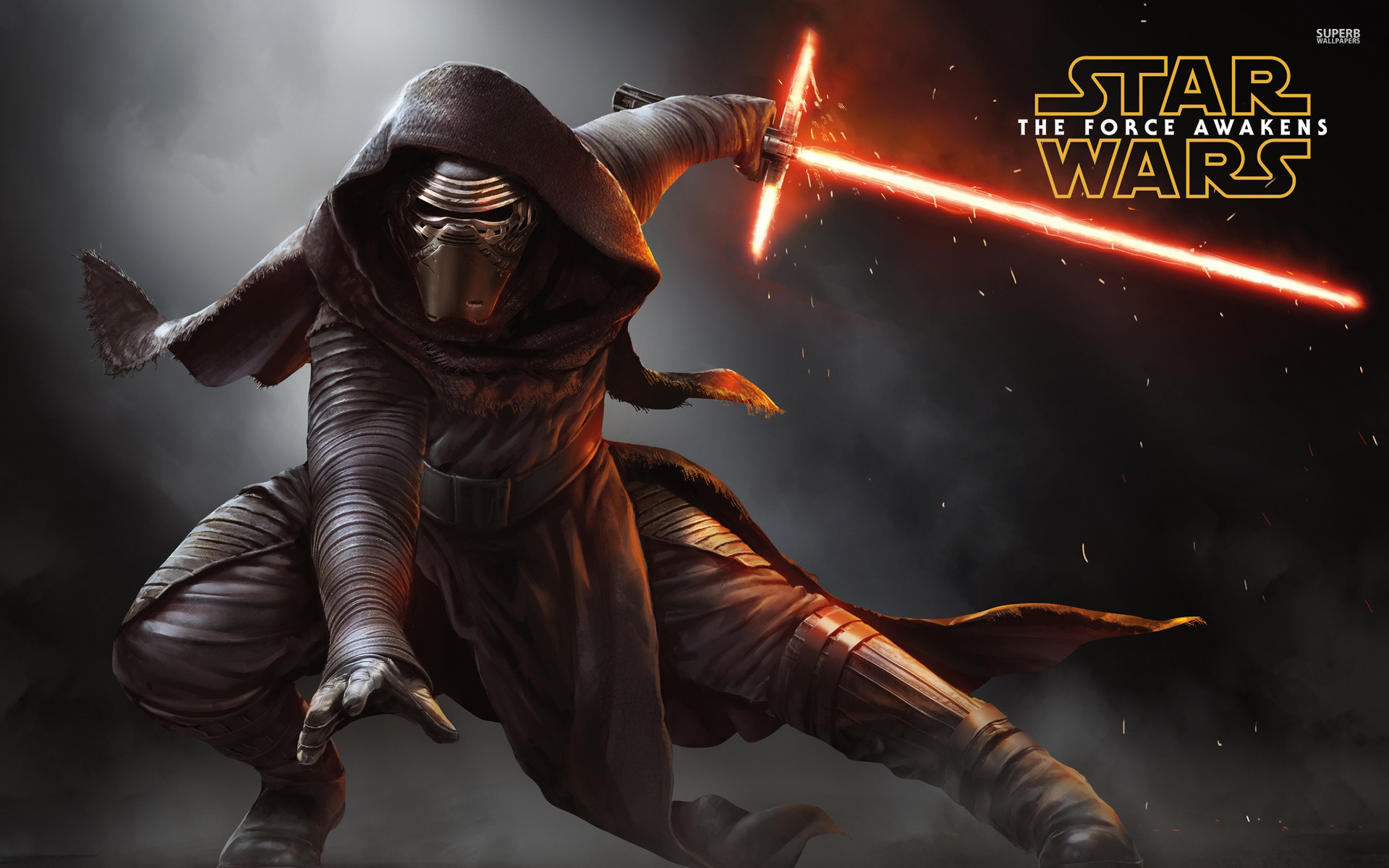 Kylo Ren with a lightsaber – Star Wars: The Force Awakens .