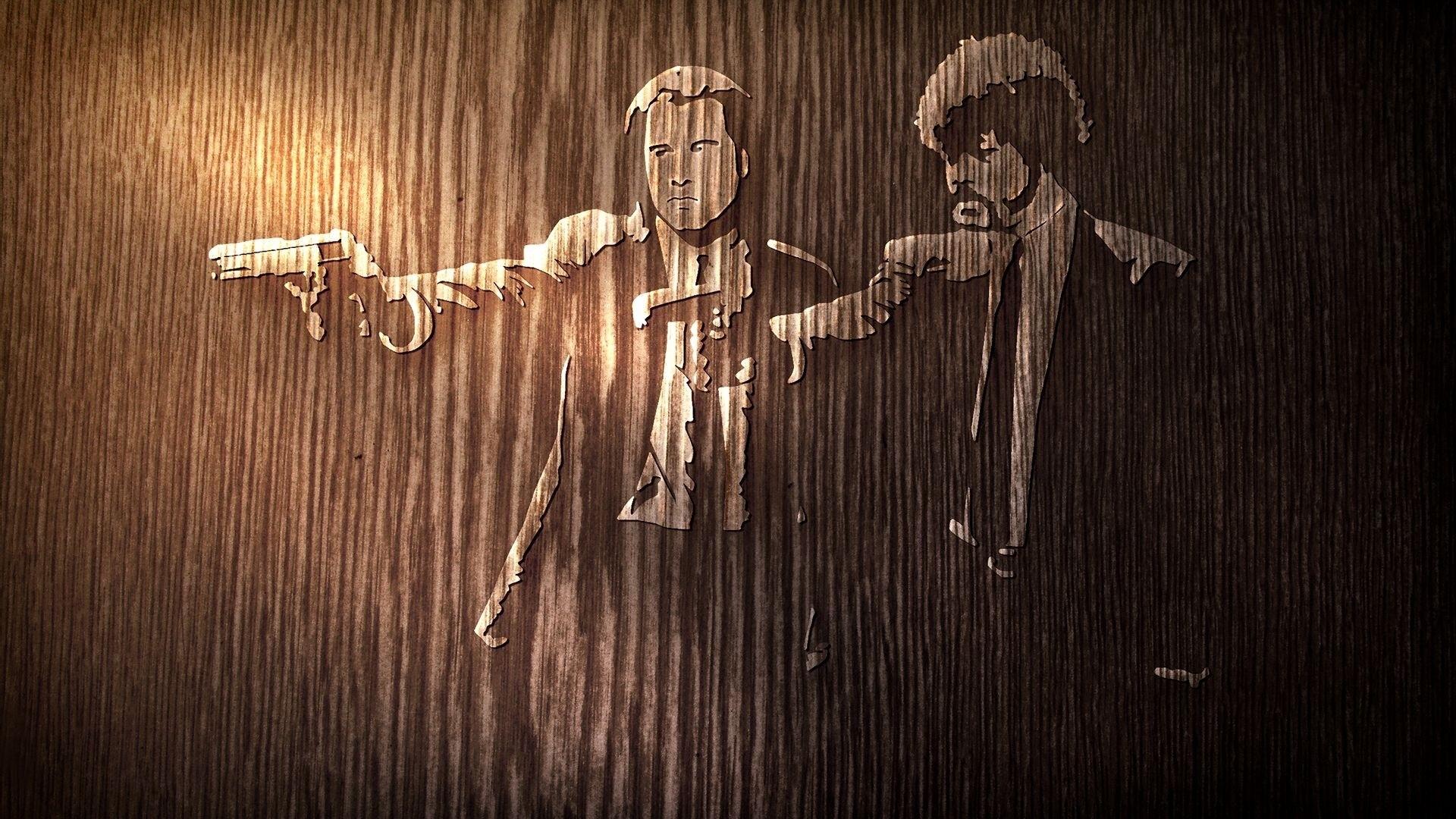 Wallpaper pulp fiction, tree, actors, john travolta, samuel  jackson, gun
