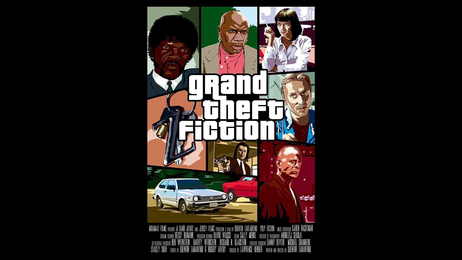 movies, Pulp Fiction, Uma Thurman, Grand Theft Auto, parody, pulp .