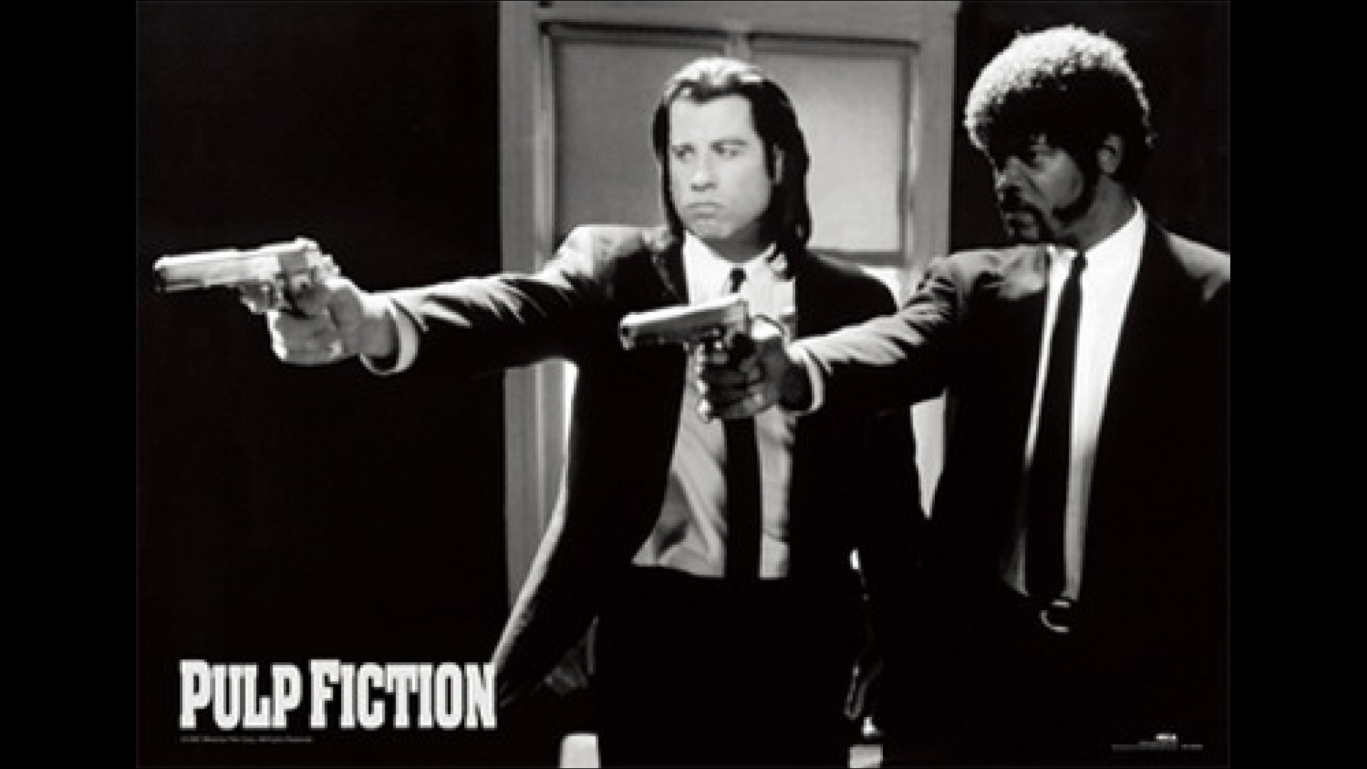 This is an iconic image from the film with Jules Winnfield (Samuel L.  Jackson) and Vincent Vega (John Travolta) points and shoots their gun to  one of …