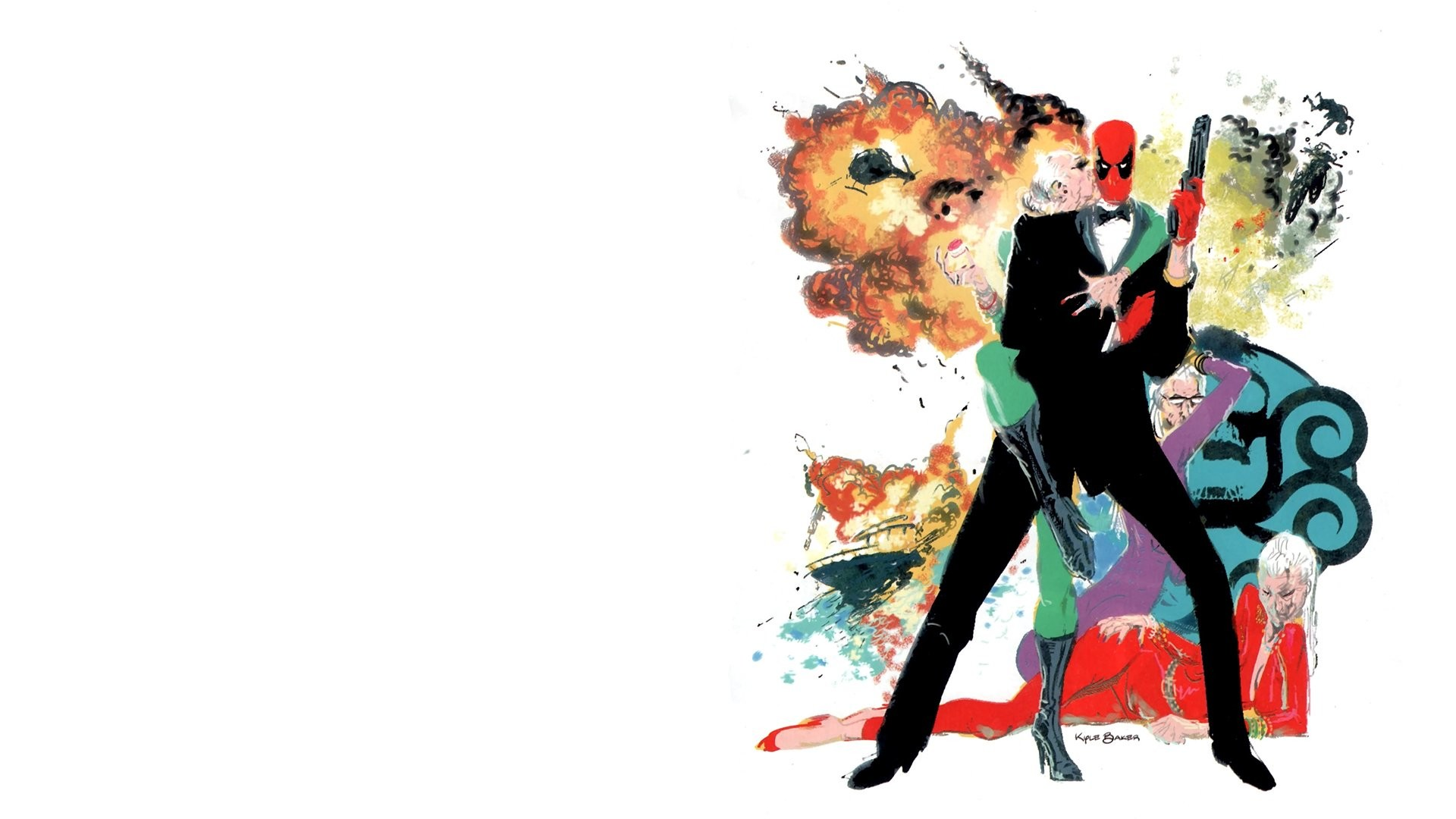Humor – Movie James Bond 007 White Deadpool Drawing Wallpaper
