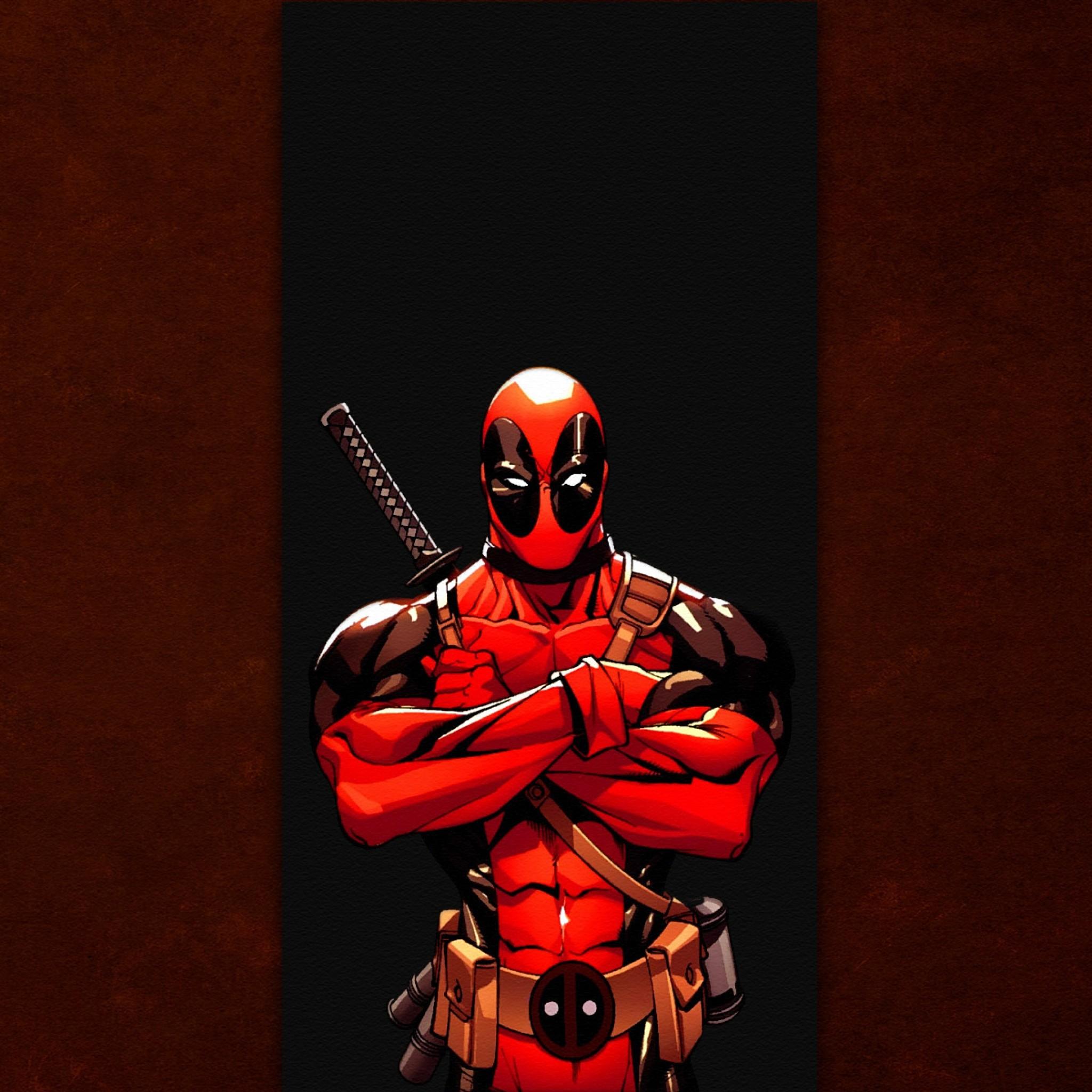 Preview wallpaper deadpool, comics, red, wade wilson, marvel, band 2048×2048