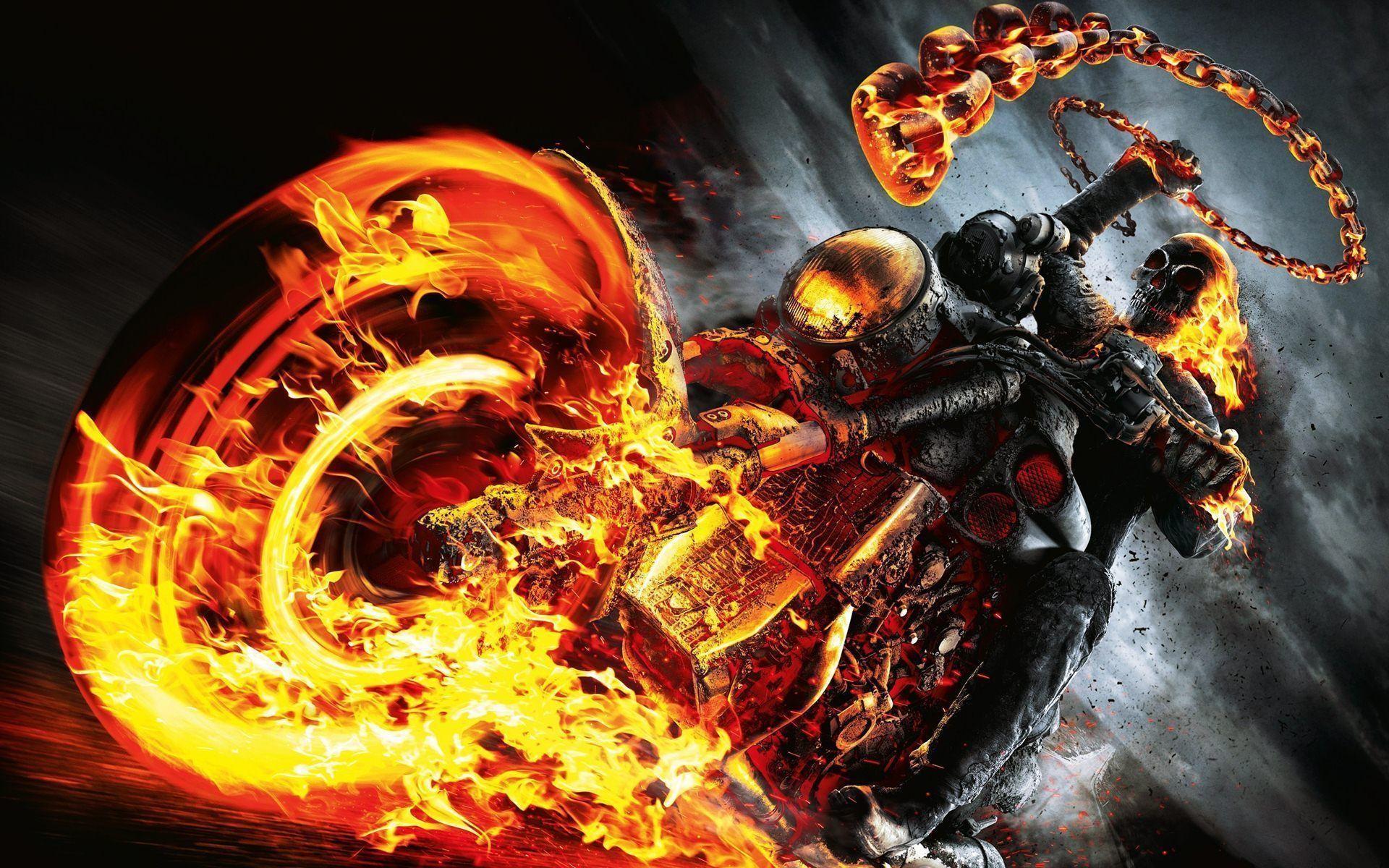 Ghost Rider Spirit Of Vengeance Skull Fire Bike Wallpapers .