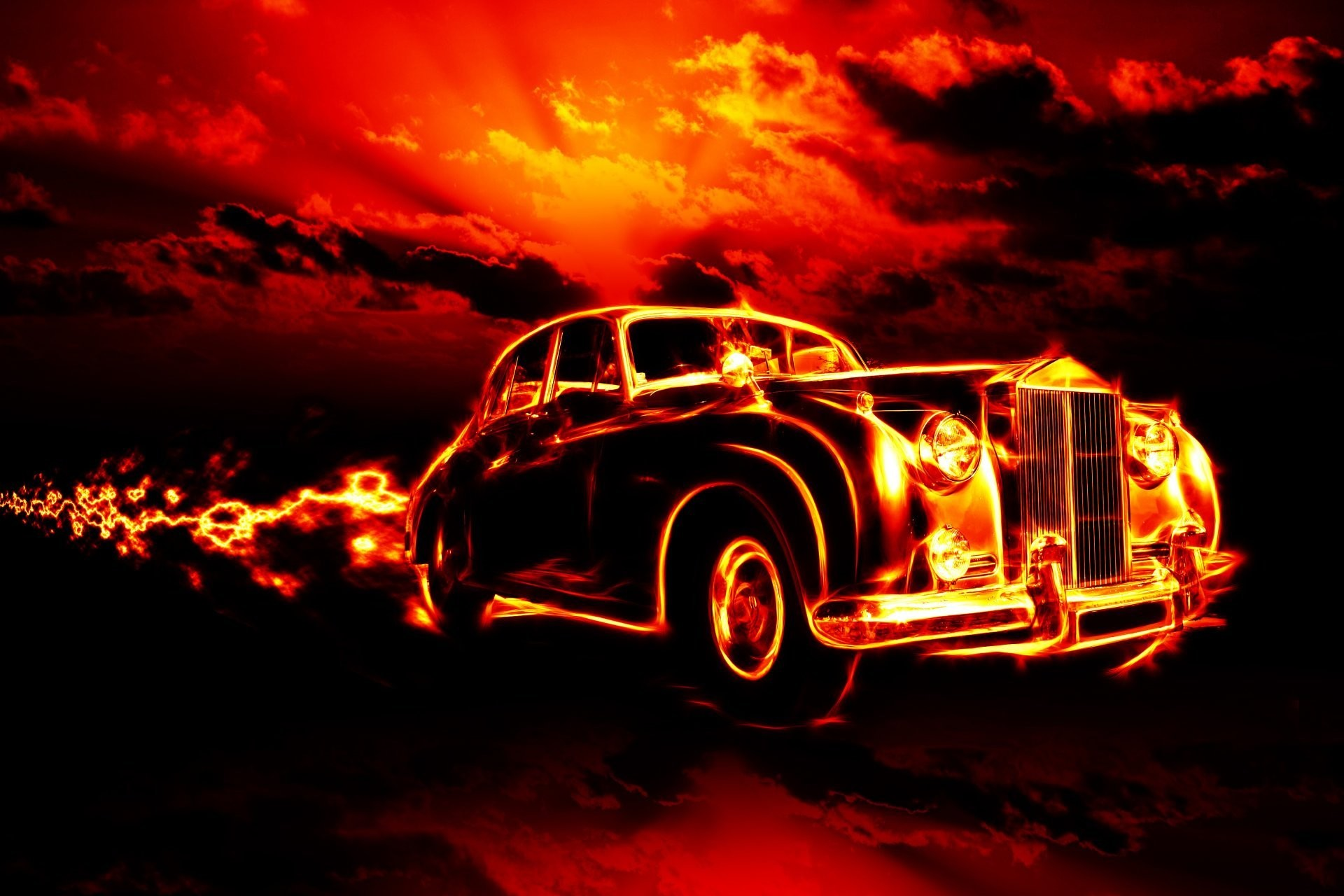 fire flame hell classic car city red sky clouds horror ghost rider creepy  smoke fire flame