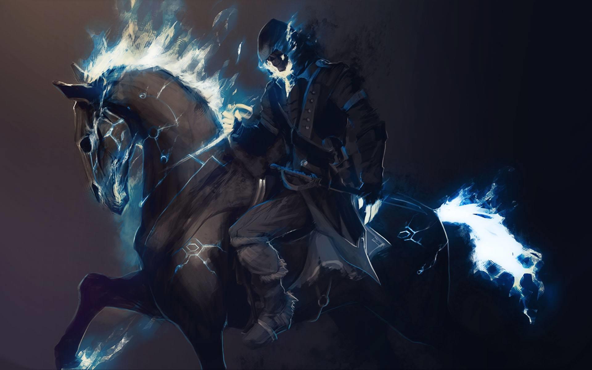 wallpaper horse fantasy painting digital fire 1920×1200