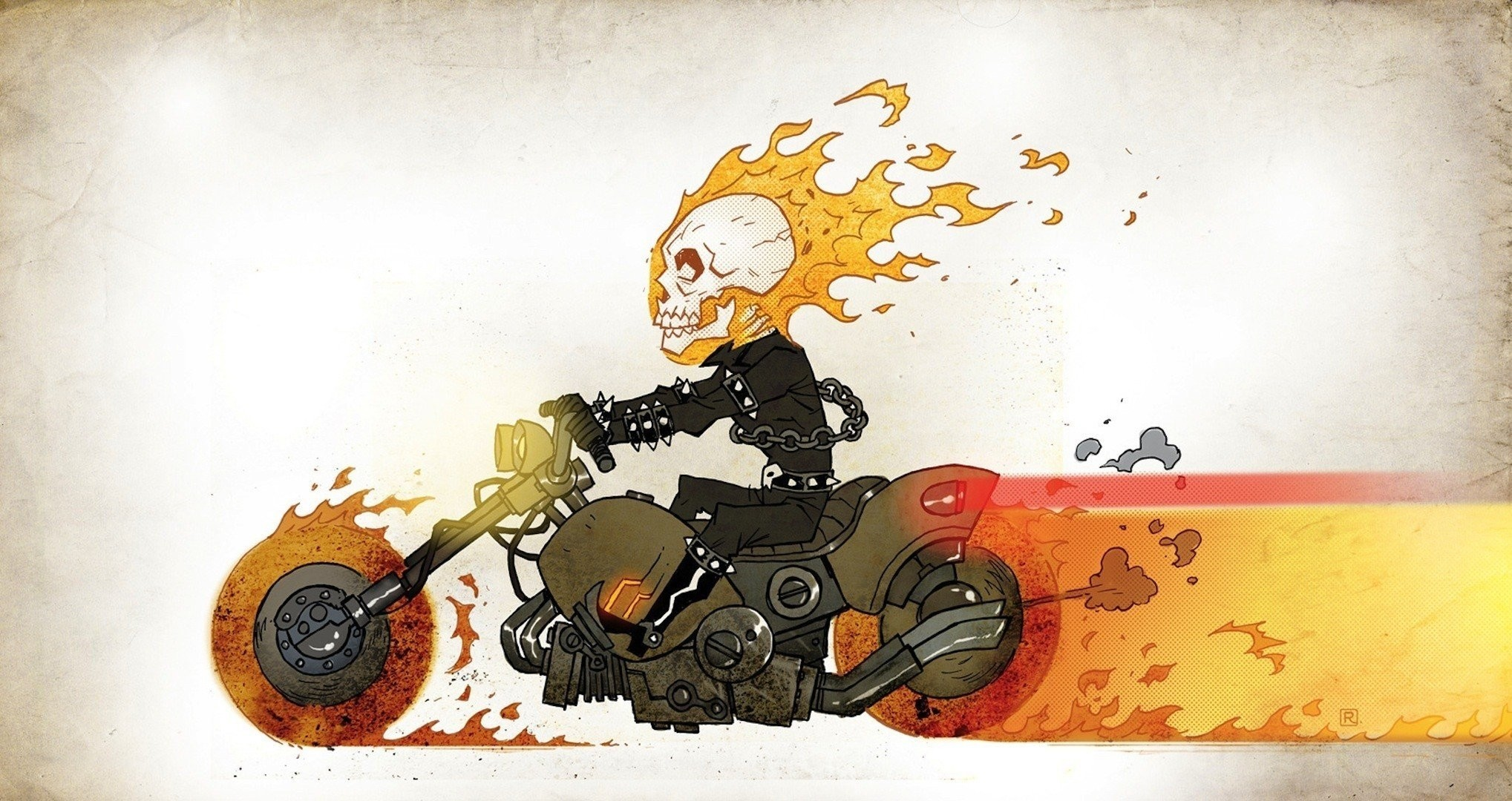 chains skull overall comics ghost rider picture fire bike