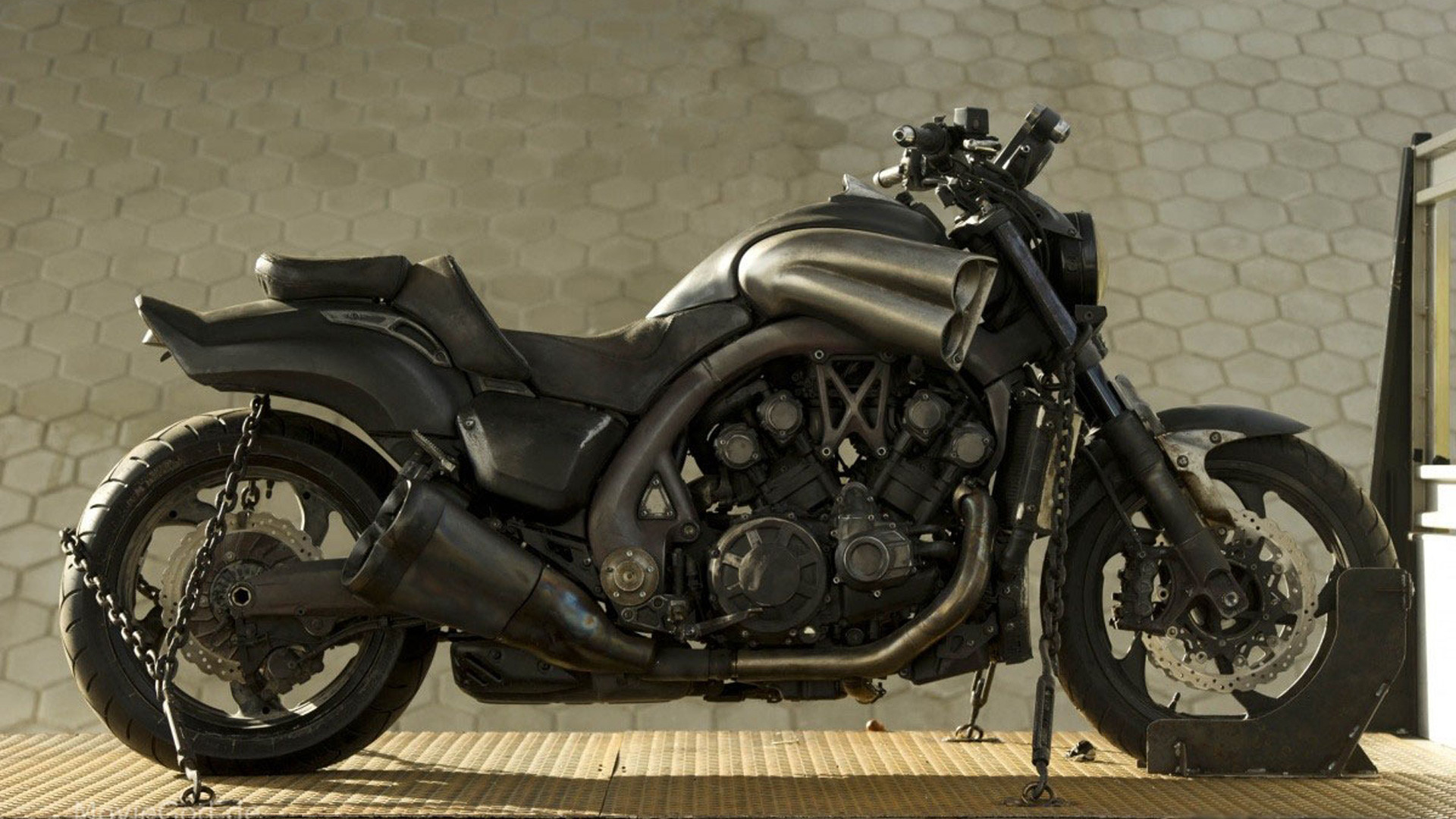 A customized 2009 Yamaha VMAX (Yamaha V-Max) is the Ghost Rider bike (the  Hell Cycle) from the movie Ghost Rider: Spirit of Vengeance