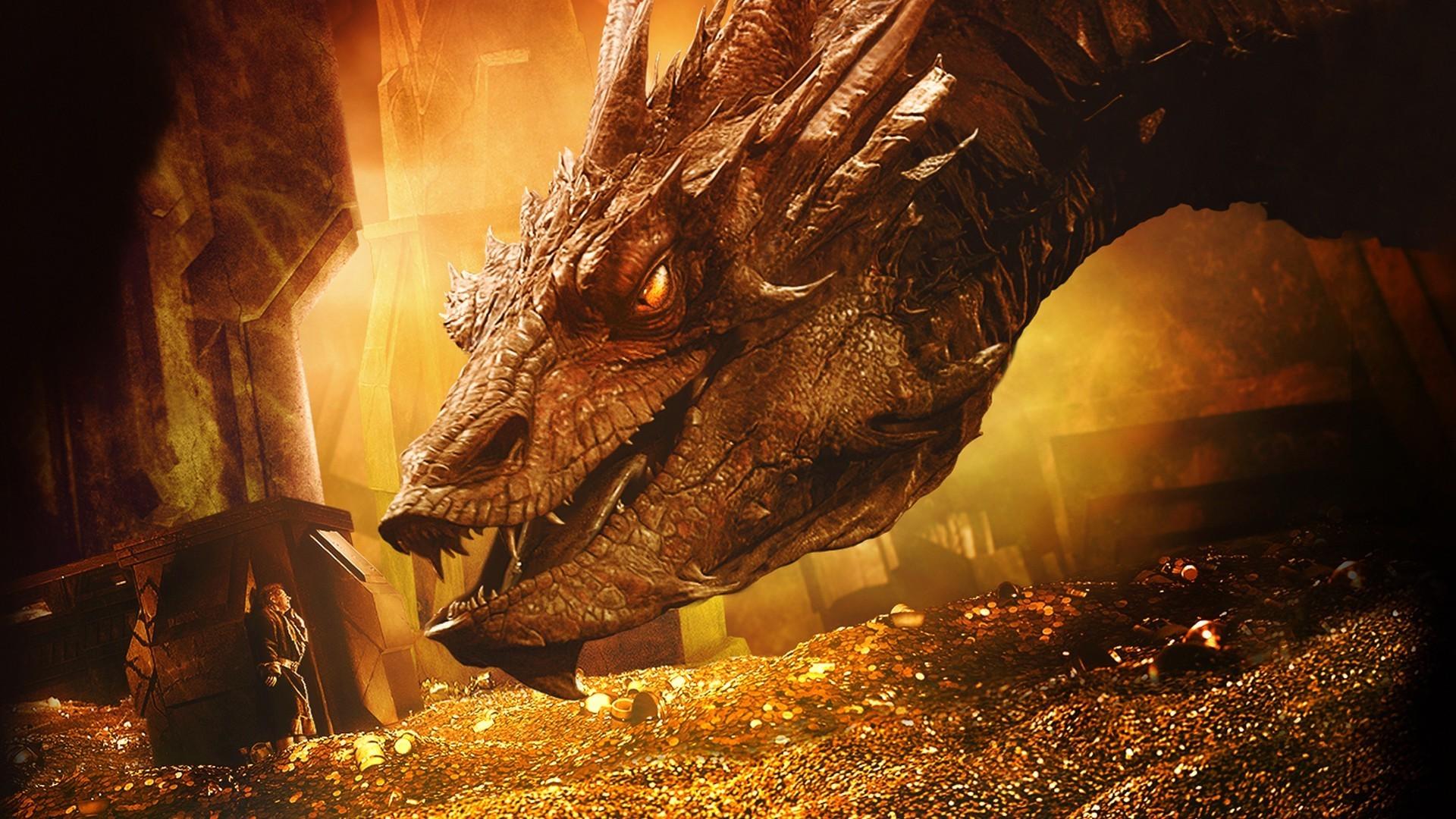 The Hobbit: The Desolation Of Smaug, Smaug, Bilbo Baggins, Dragon,  Treasure, Gold Wallpapers HD / Desktop and Mobile Backgrounds