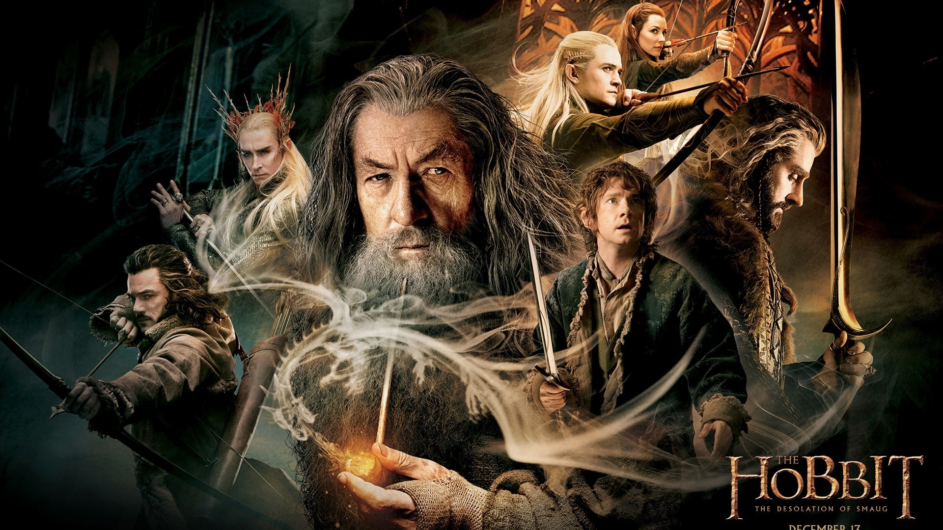 Wallpaper the hobbit the desolation of smaug, legolas, bilbo,  gandalf, galadriel