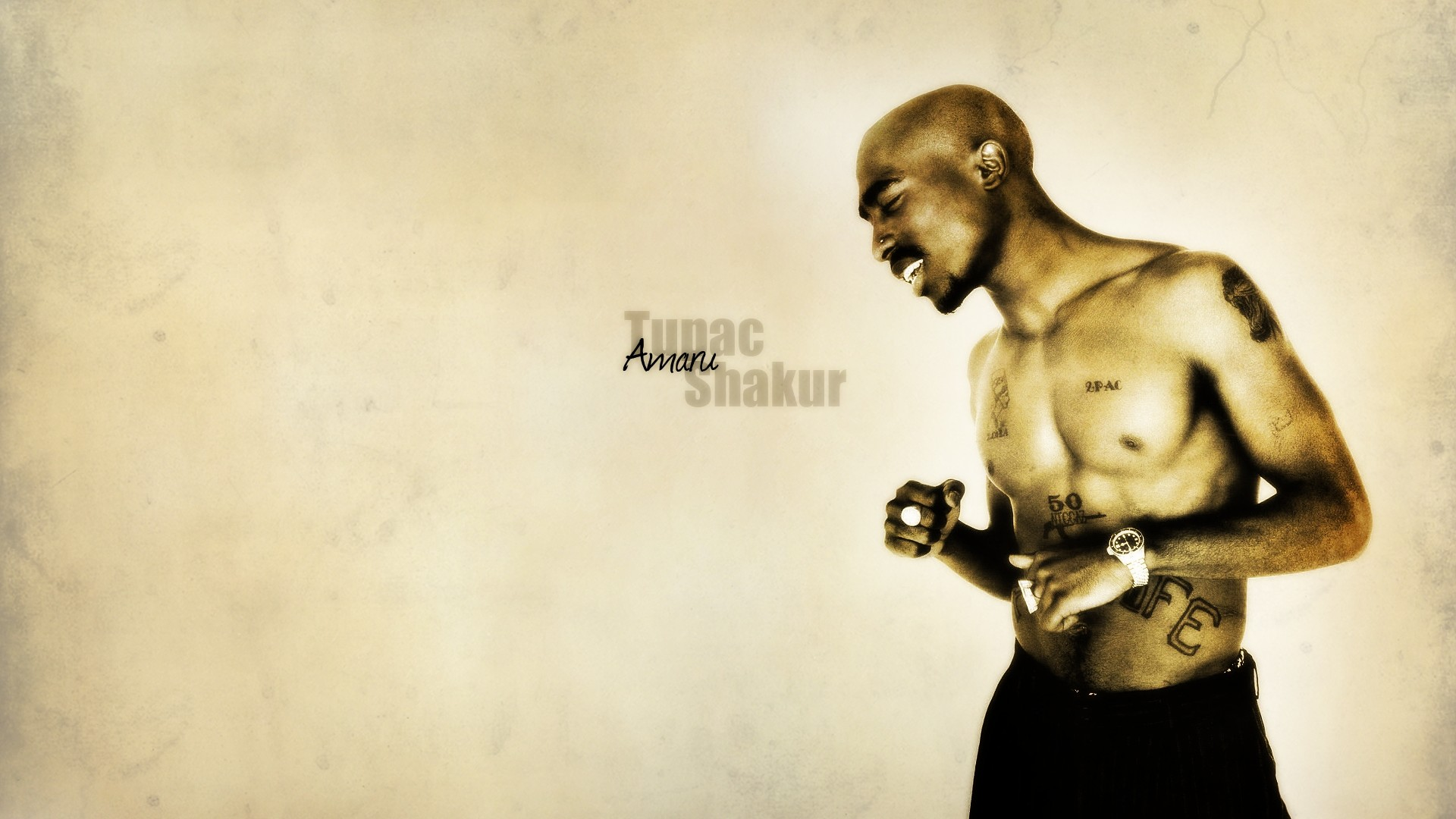 Preview wallpaper 2pac, emotions, body, tattoo, watches 1920×1080