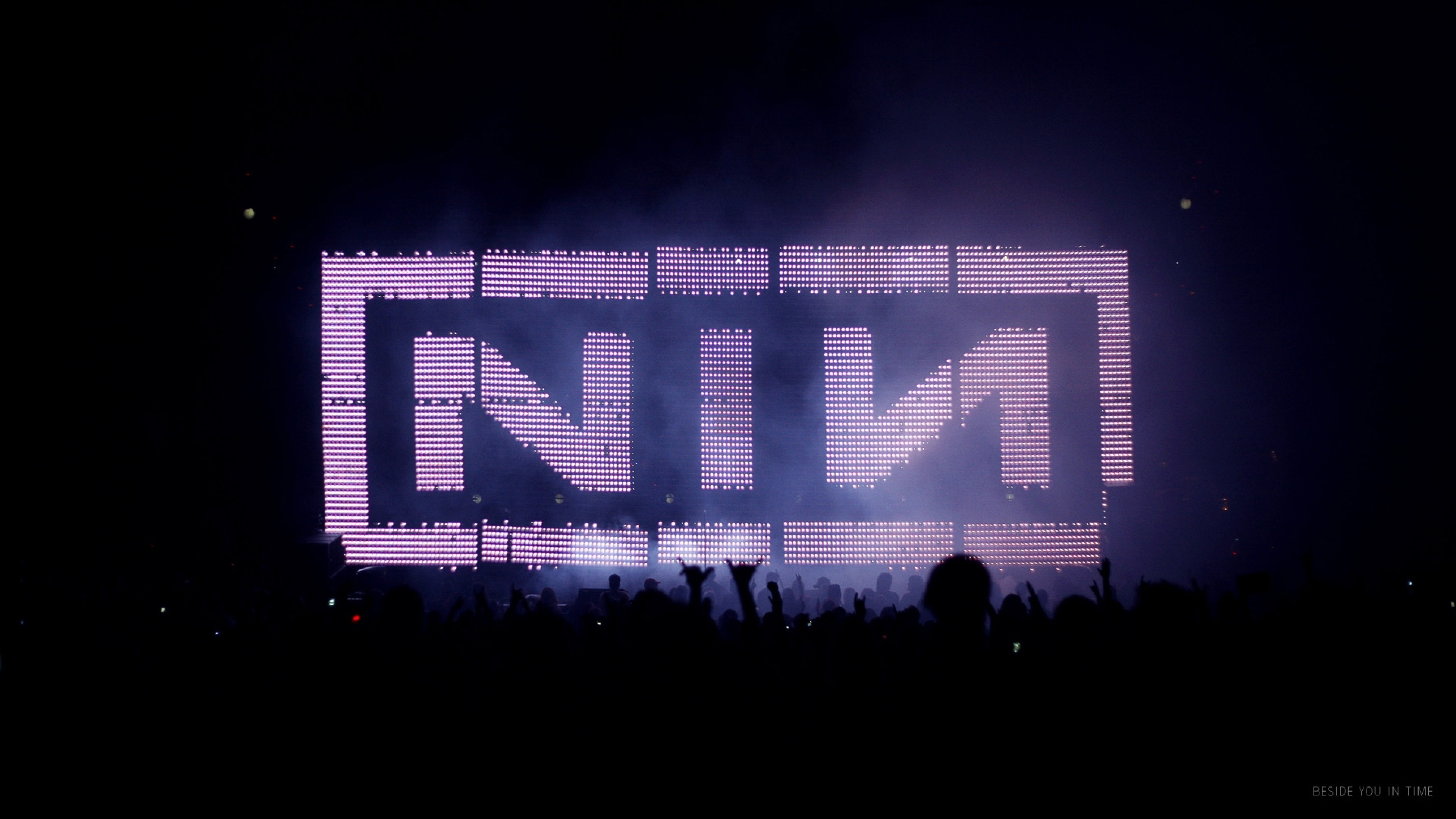 Preview wallpaper nine inch nails, concert, name, fan, silhouettes 3840×2160