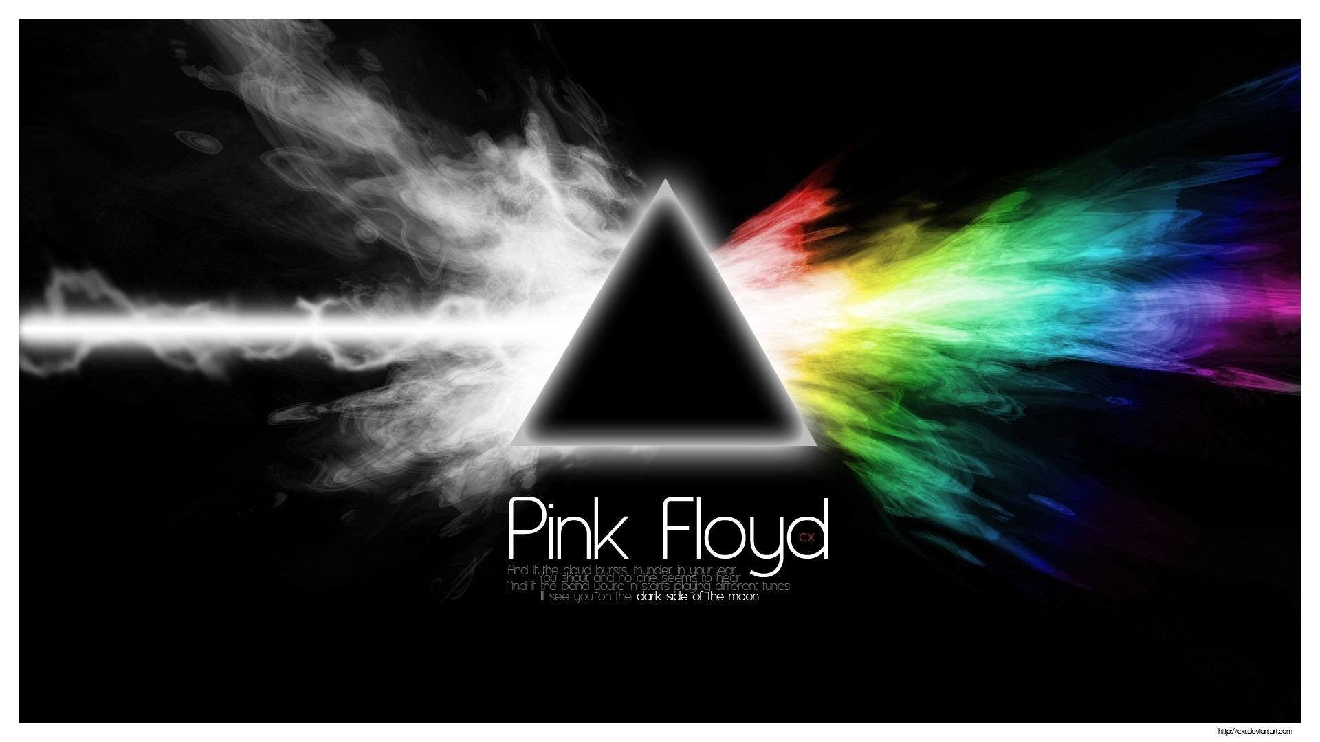 Preview wallpaper pink floyd, sign, text, graphics, triangle 1920×1080