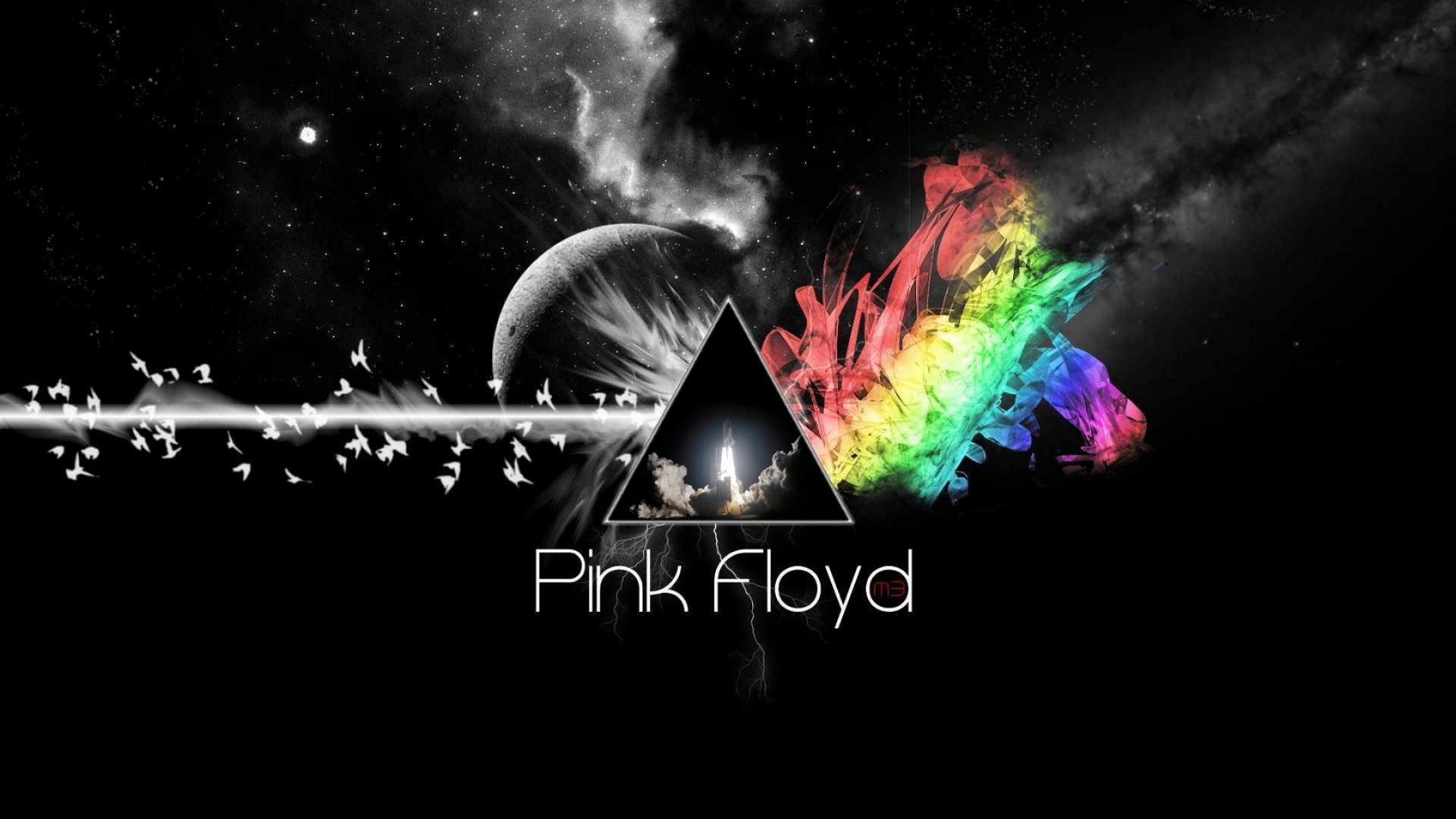 Preview wallpaper pink floyd, triangle, colors, space, background 1920×1080