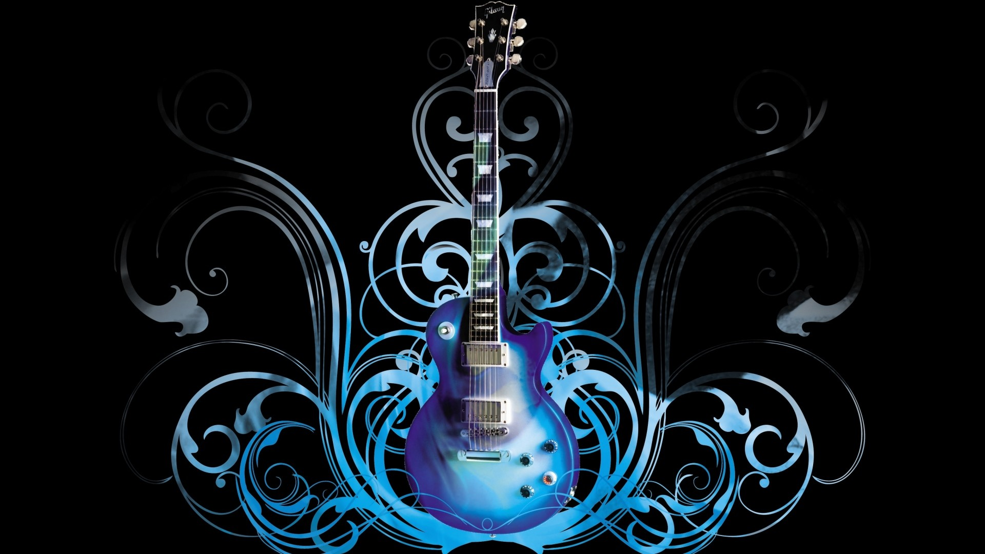 Preview wallpaper guitar, blue, pattern, style 1920×1080