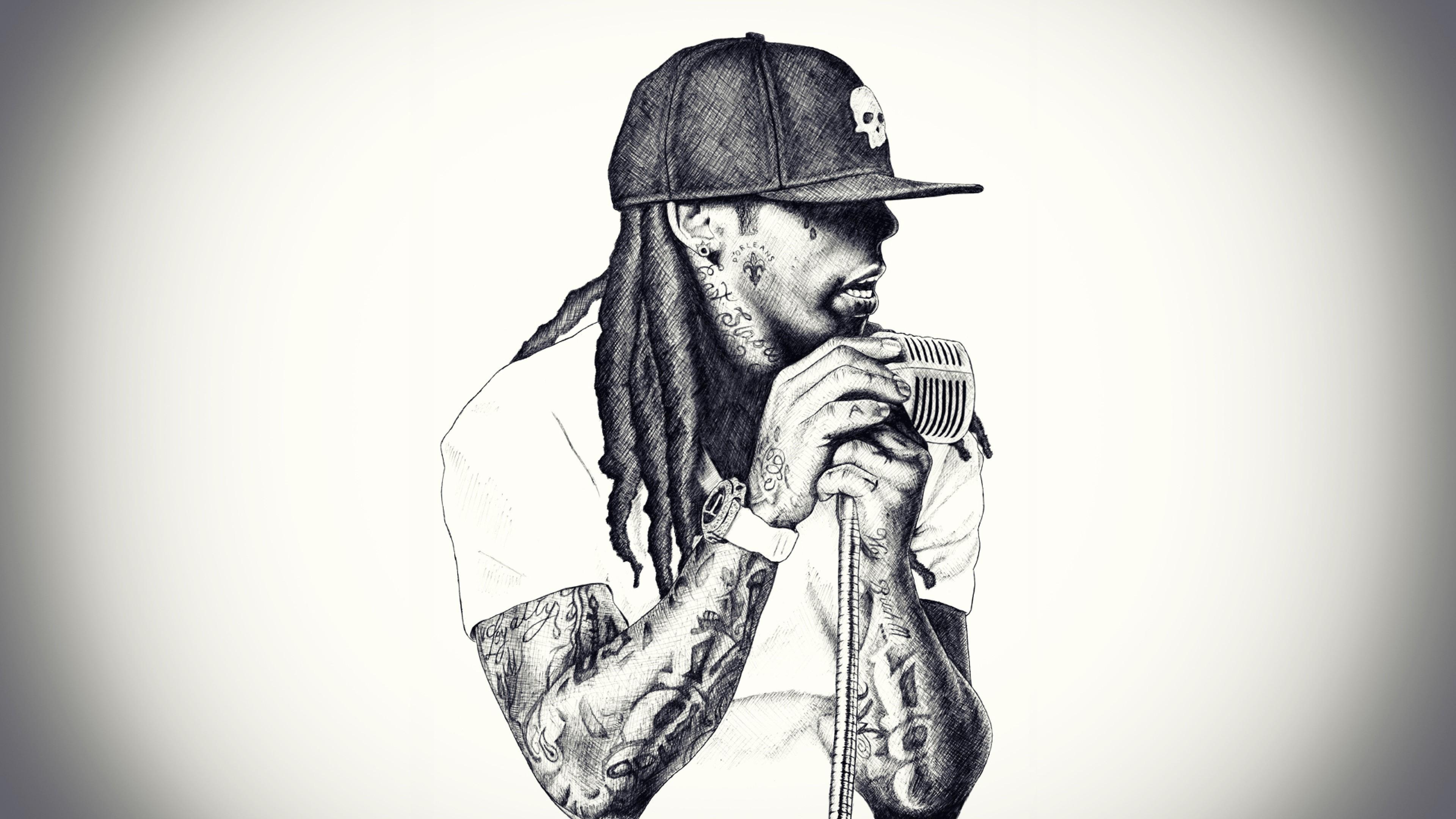 Preview wallpaper lil wayne, rap, singer, microphone, baseball cap,  dreadlocks 3840×2160