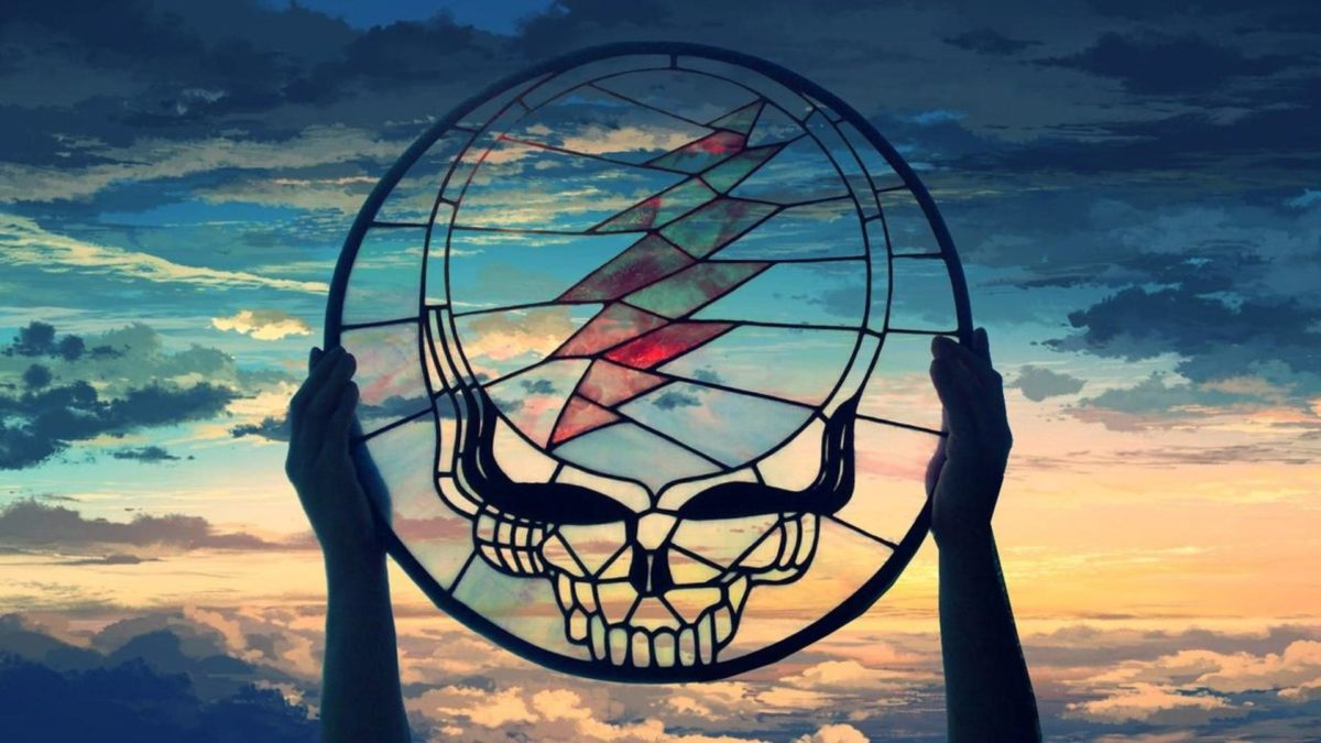Grateful Dead (Stained Glass Stealie) over Painted Sky[.