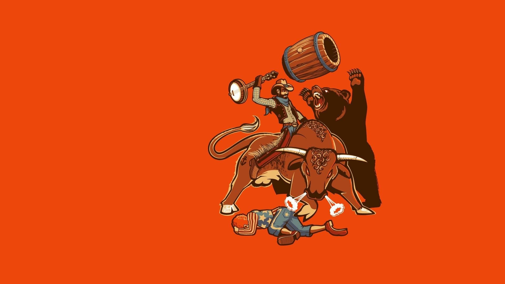 Minimalistic funny bears rodeo cowboy wallpaper | | 297475 .