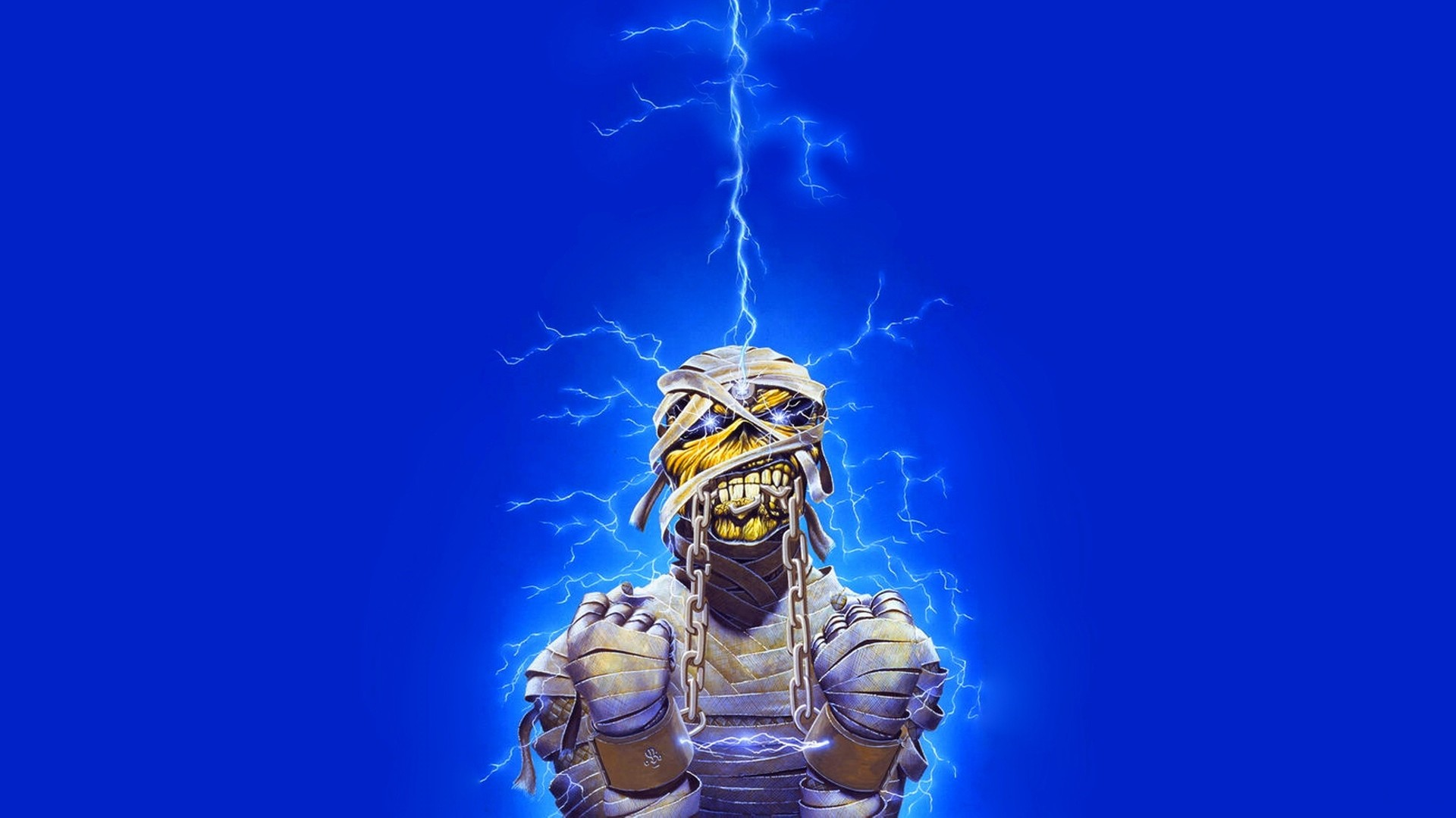 Preview wallpaper iron maiden, undead, lightning, energy, light 1920×1080