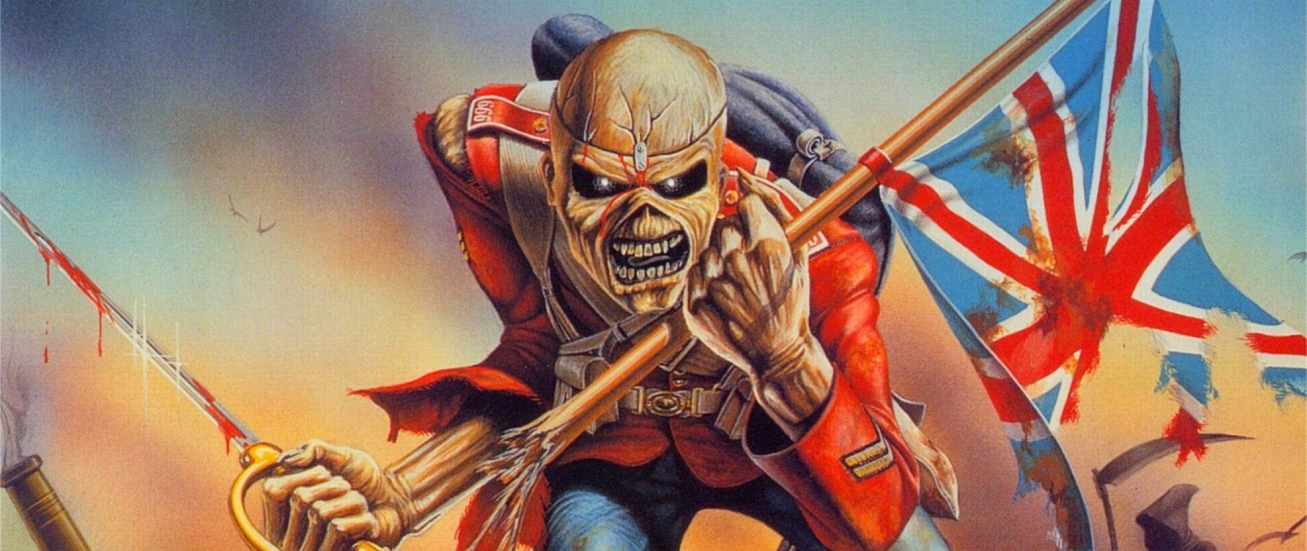 Preview wallpaper iron maiden, picture, undead, flag, war 2560×1080