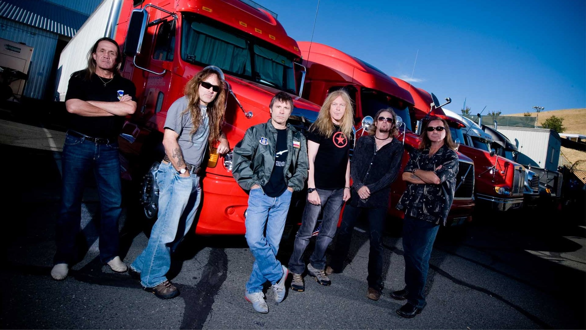 Preview wallpaper iron maiden, band, trucks, sky, look 1920×1080