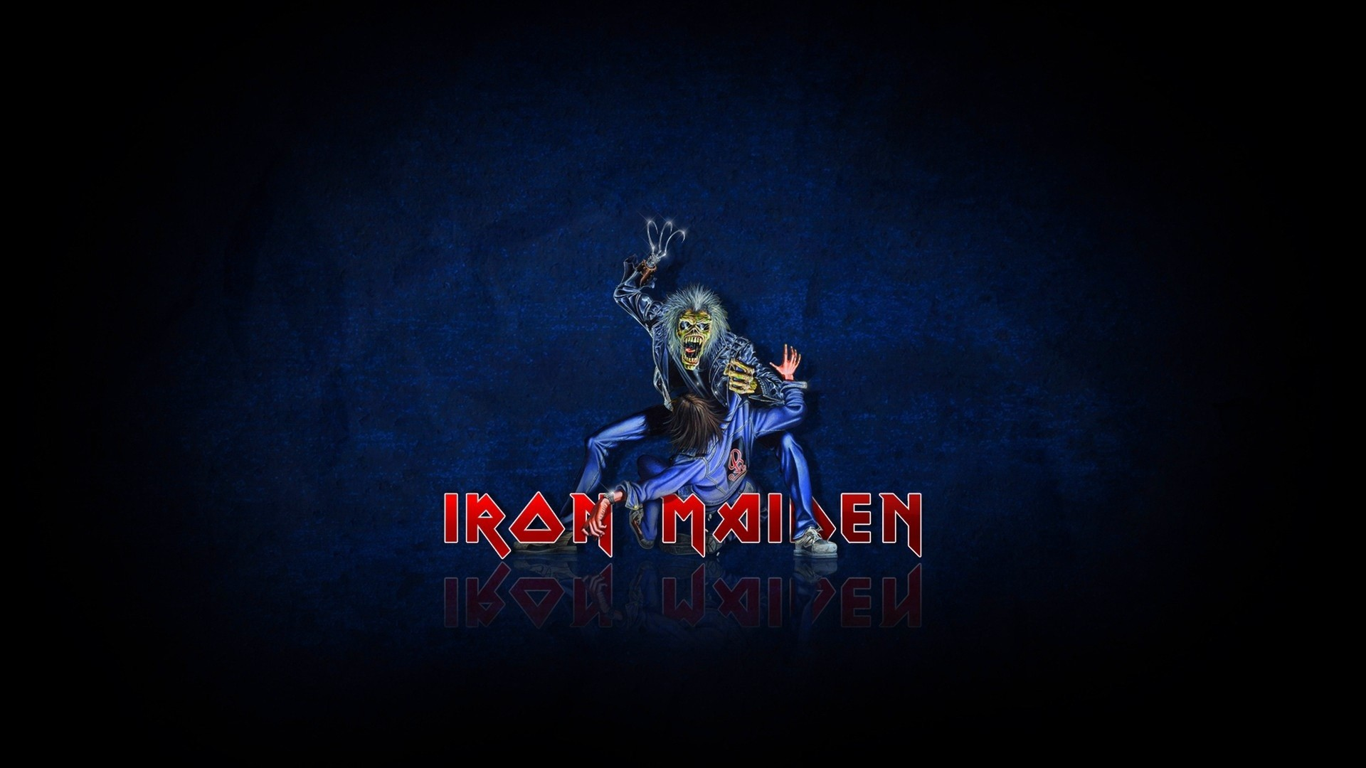 Preview wallpaper iron maiden, zombi, victim, darkness, letters 1920×1080