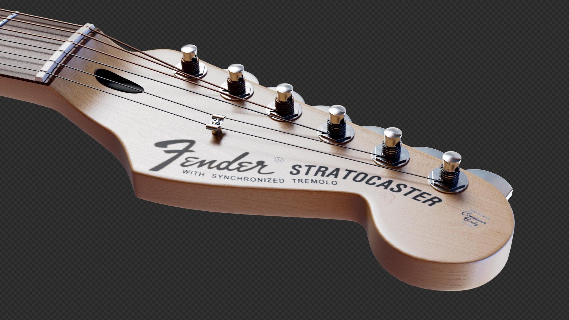 … fender stratocaster electric guitar 3d model obj fbx blend mtl 9 …