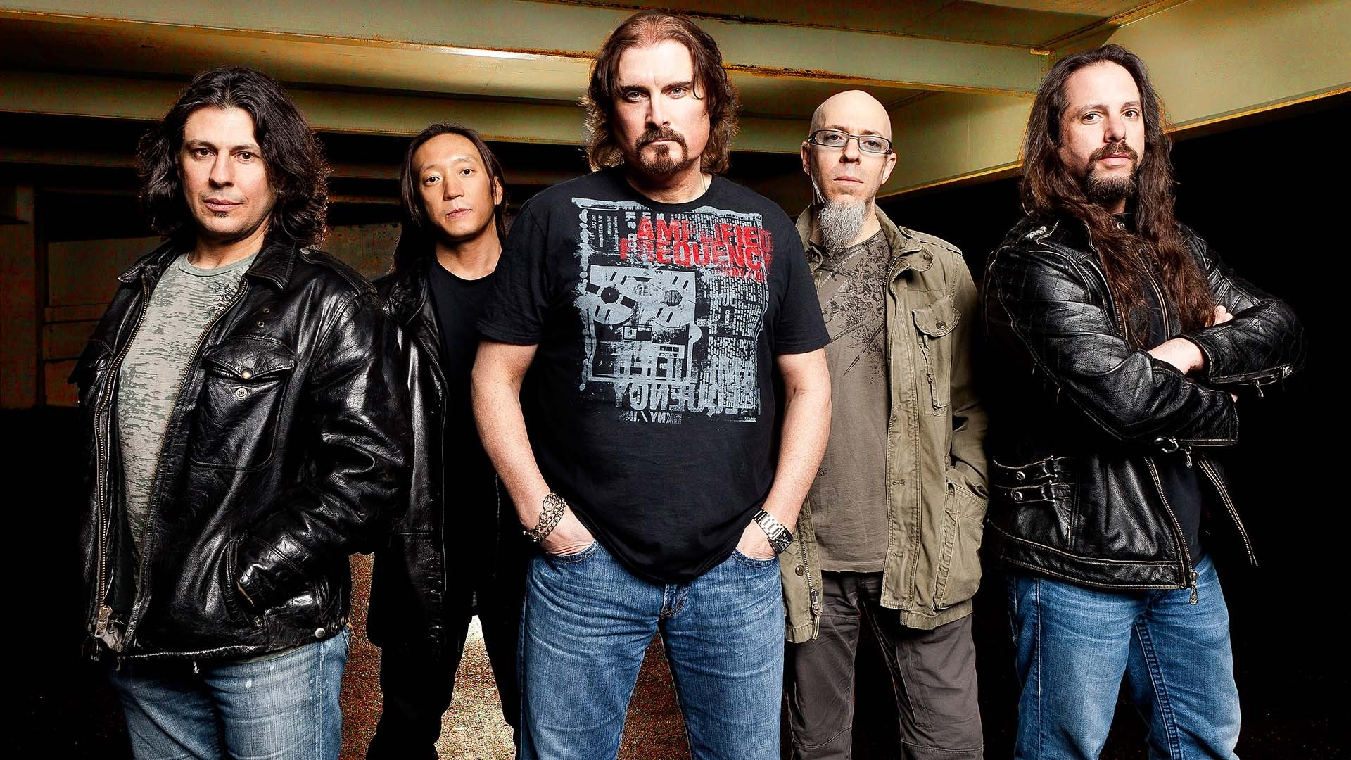 Preview wallpaper dream theater, band, jackets, basement, glasses 1920×1080