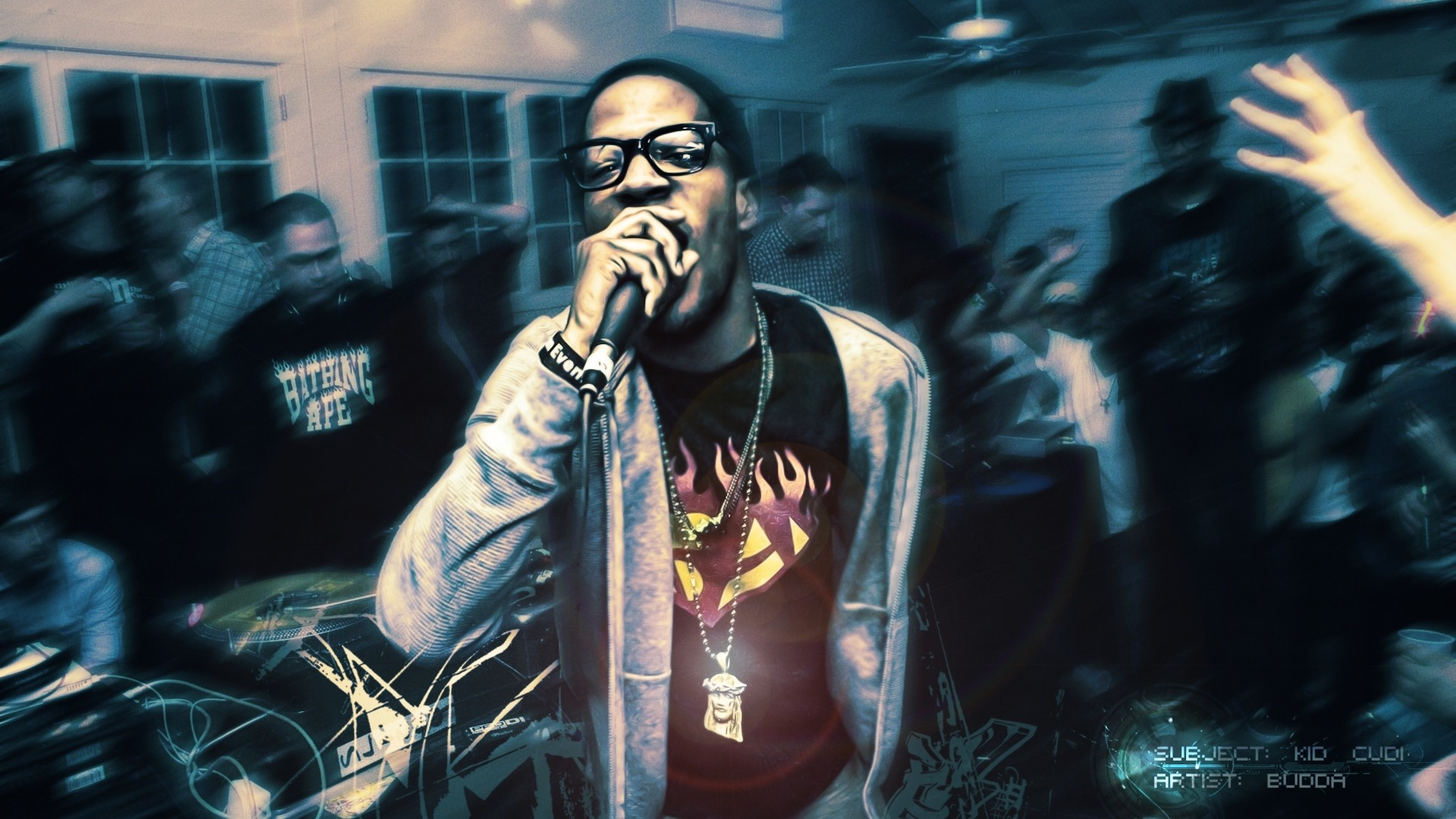 Preview wallpaper kid cudi, room, party, microphone, disco 1920×1080