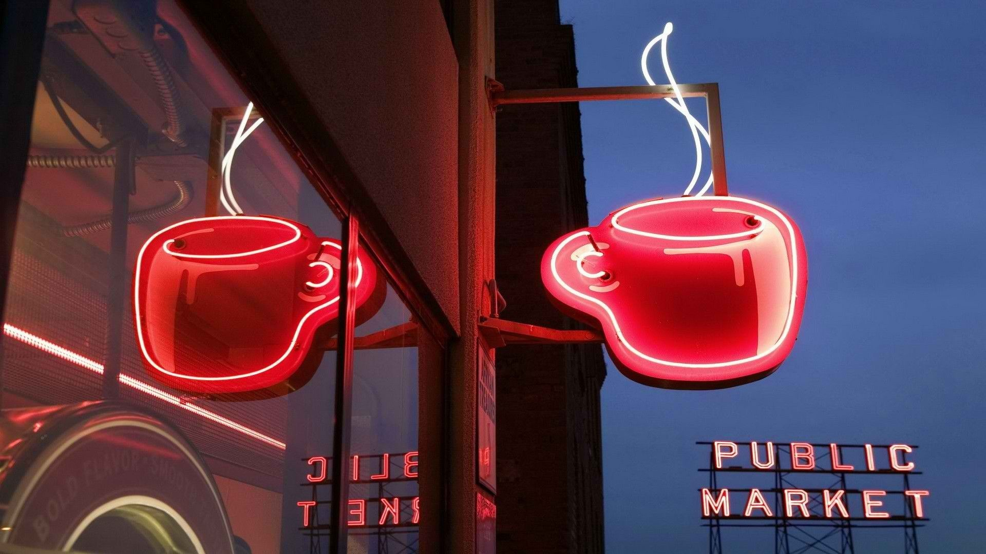Drinks coffee sign neon seattle World Market Coffee Seattle Pikes .