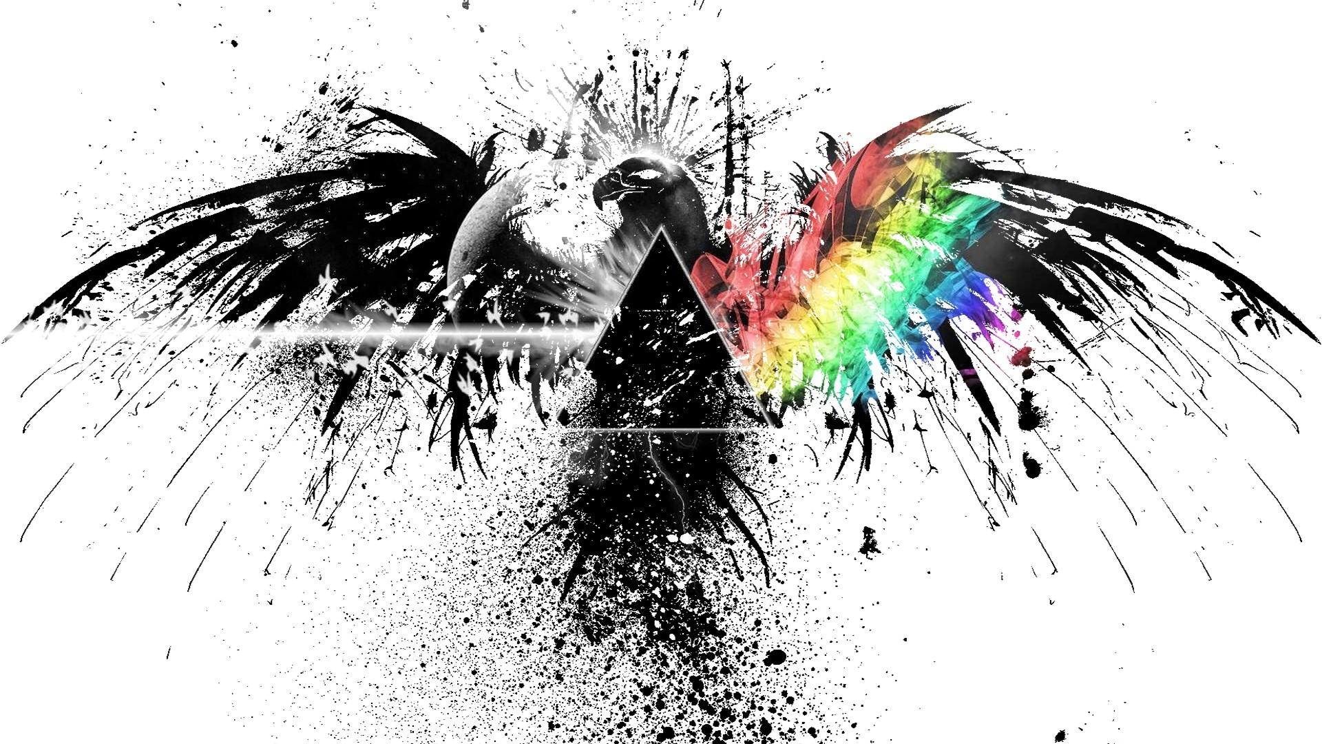 pink floyd black and white rainbow eagle graffiti spray