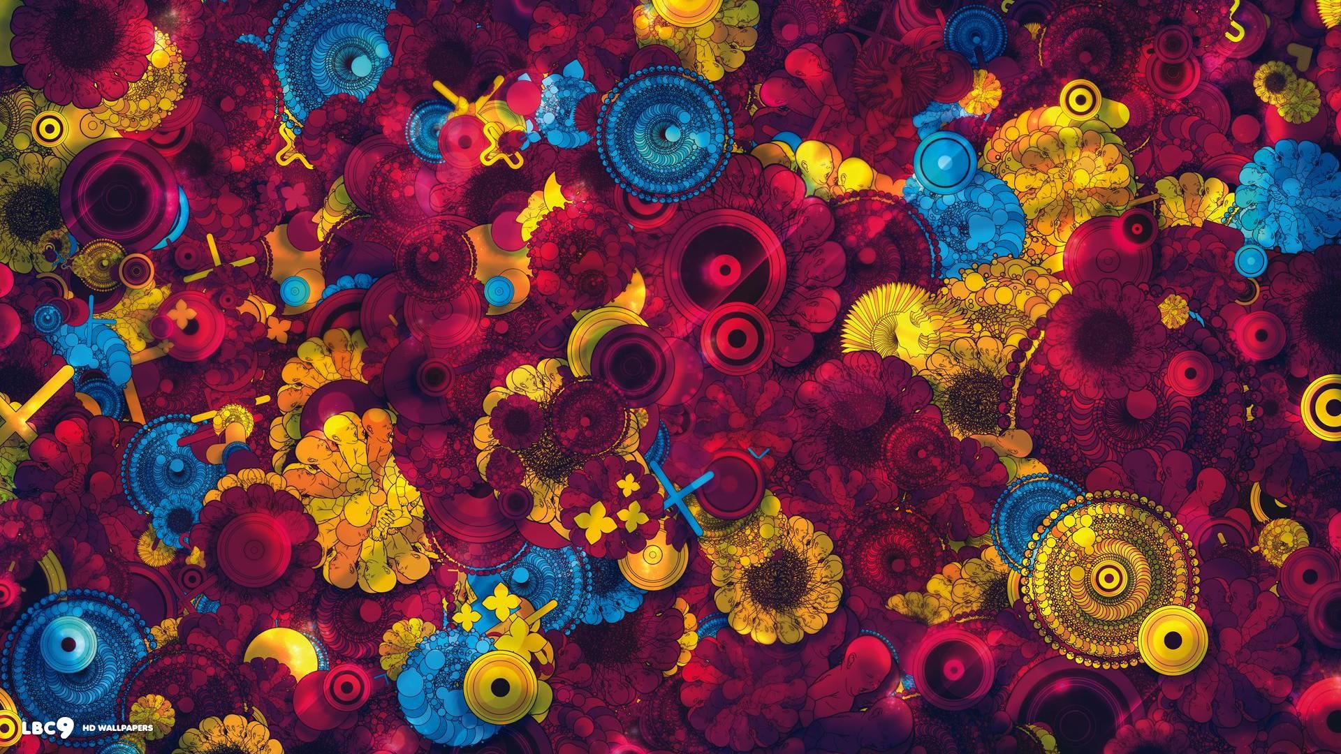 Blue Vector Flowers Wallpaper x