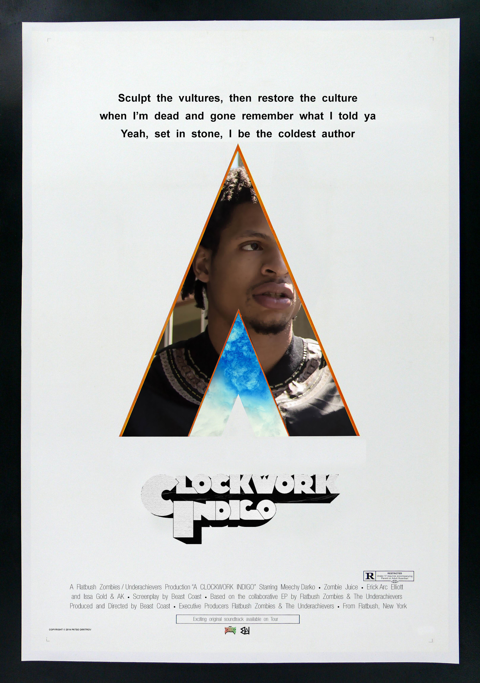 """I re-created the """"Clockwork Orange"""" movie poster as a poster for each  member of Clockwork Indigo. I thought some of you might like them :  HipHopImages"""