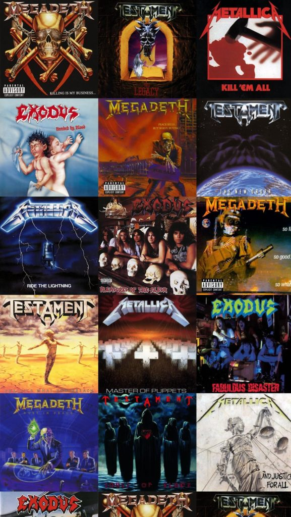 Download this free wallpaper with images of Megadeth – Killing Is My  Business, Testament – The Legacy, Metallica – Kill Em All, Exodus – Bonded  By Blood …