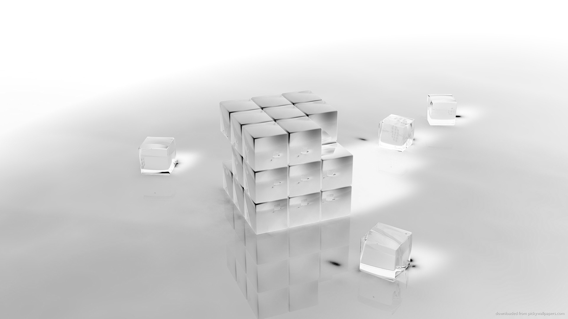 3D ice cubes for 1920×1080