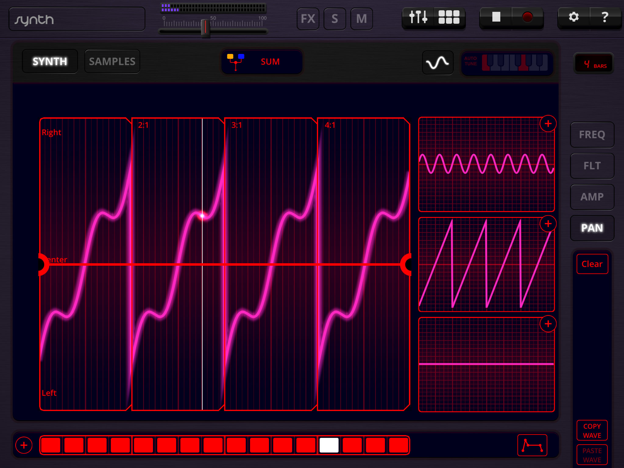 Many of the sound and pitch sequence settings in Oscilab can be adjusted by  tweaking the