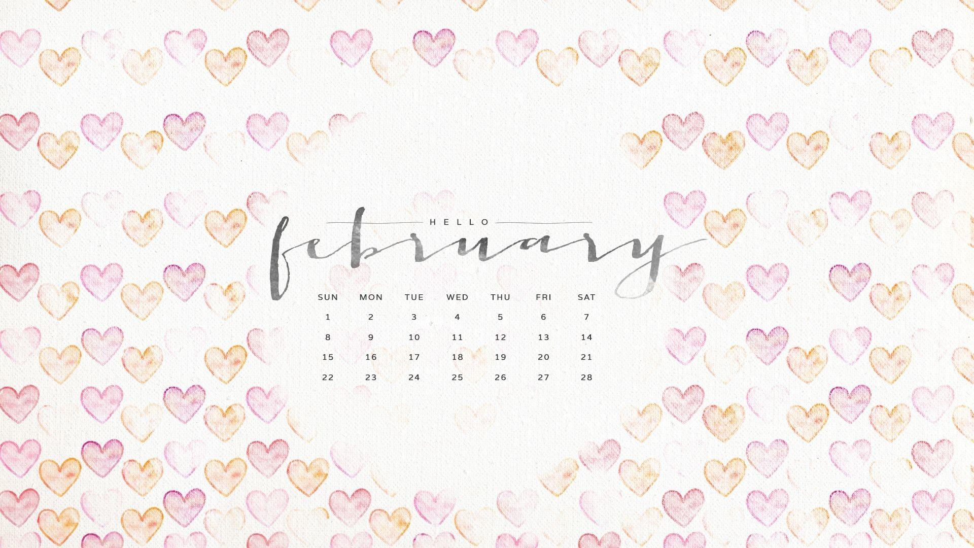 Valentines February Calendar Wallpaper Sarah Hearts