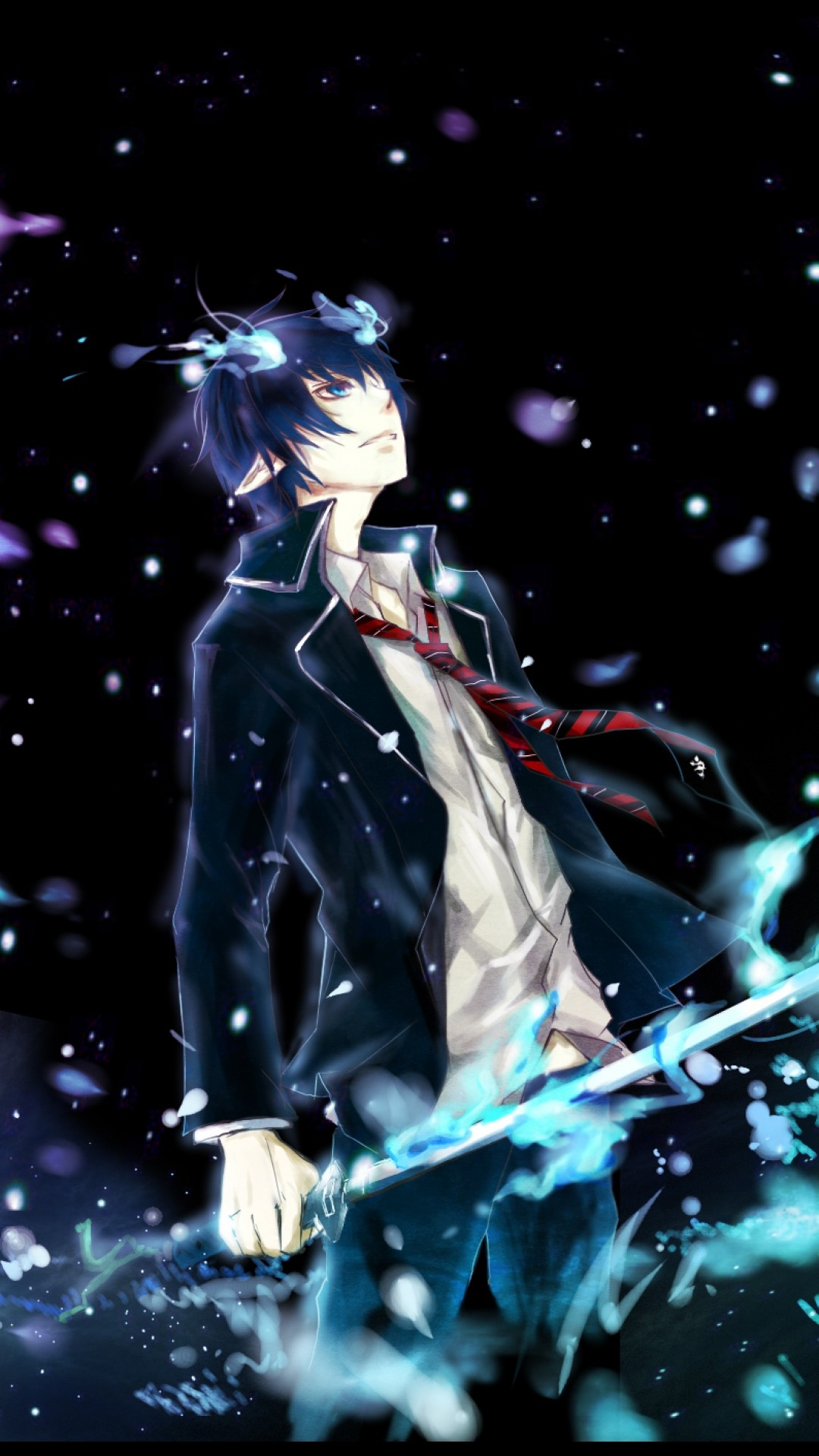 Preview wallpaper ao no exorcist, okumura rin, man, art 1080×1920