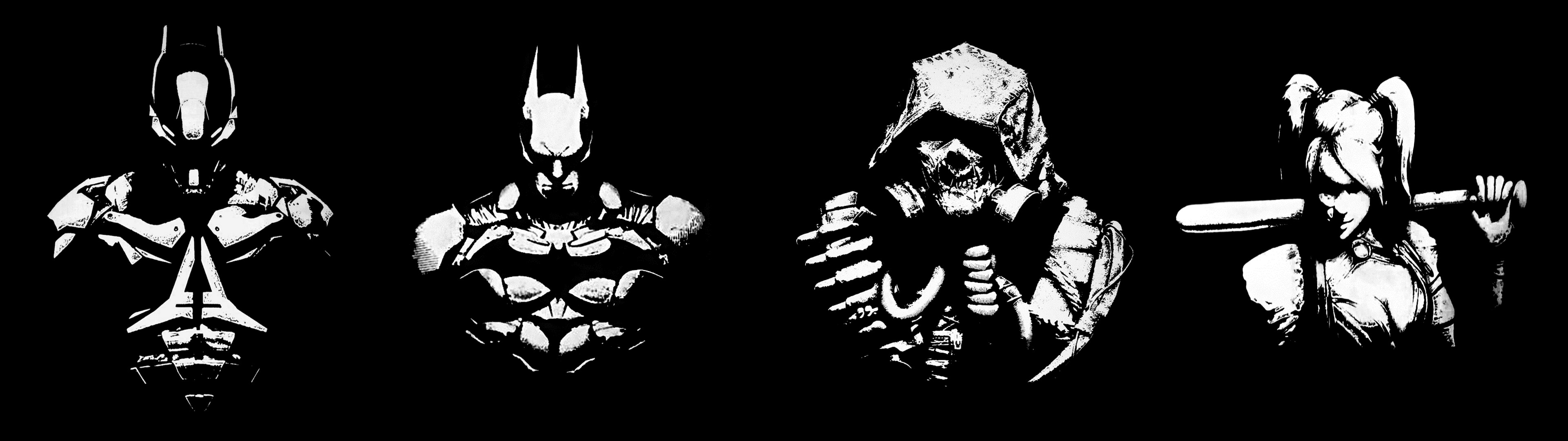3840×1080] I edited four Batman Arkham wallpapers into one for .