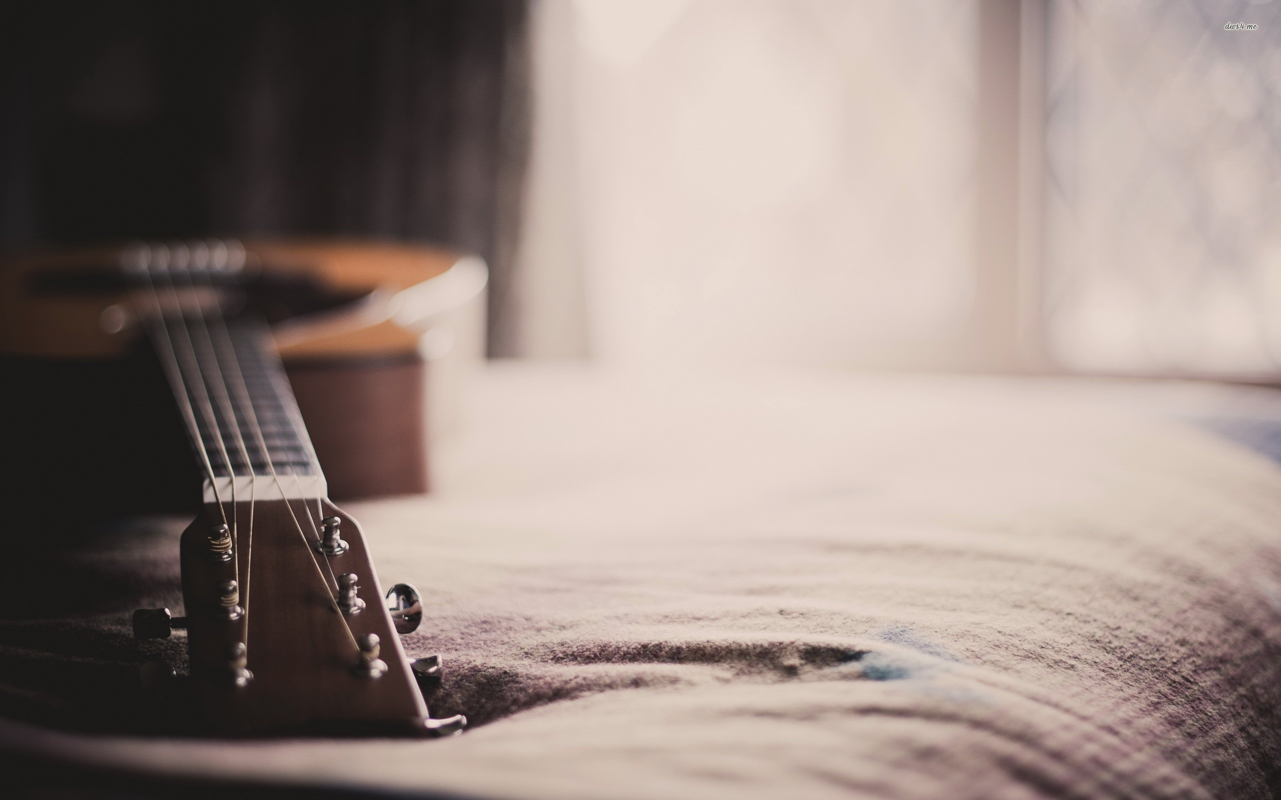 Guitar on the bed wallpaper – 1068877