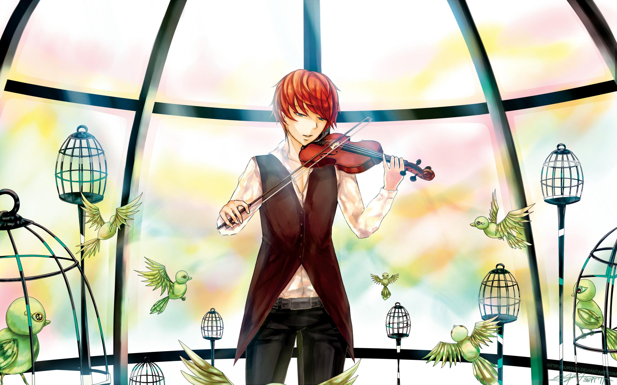Original music boy violin art wallpaper   .