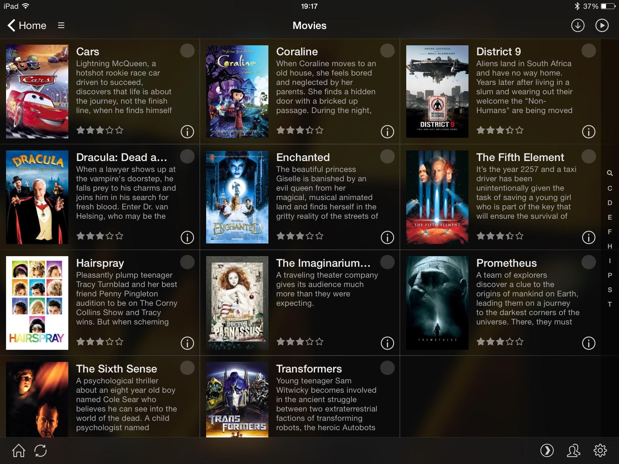 Screenshot of Plex on iPad