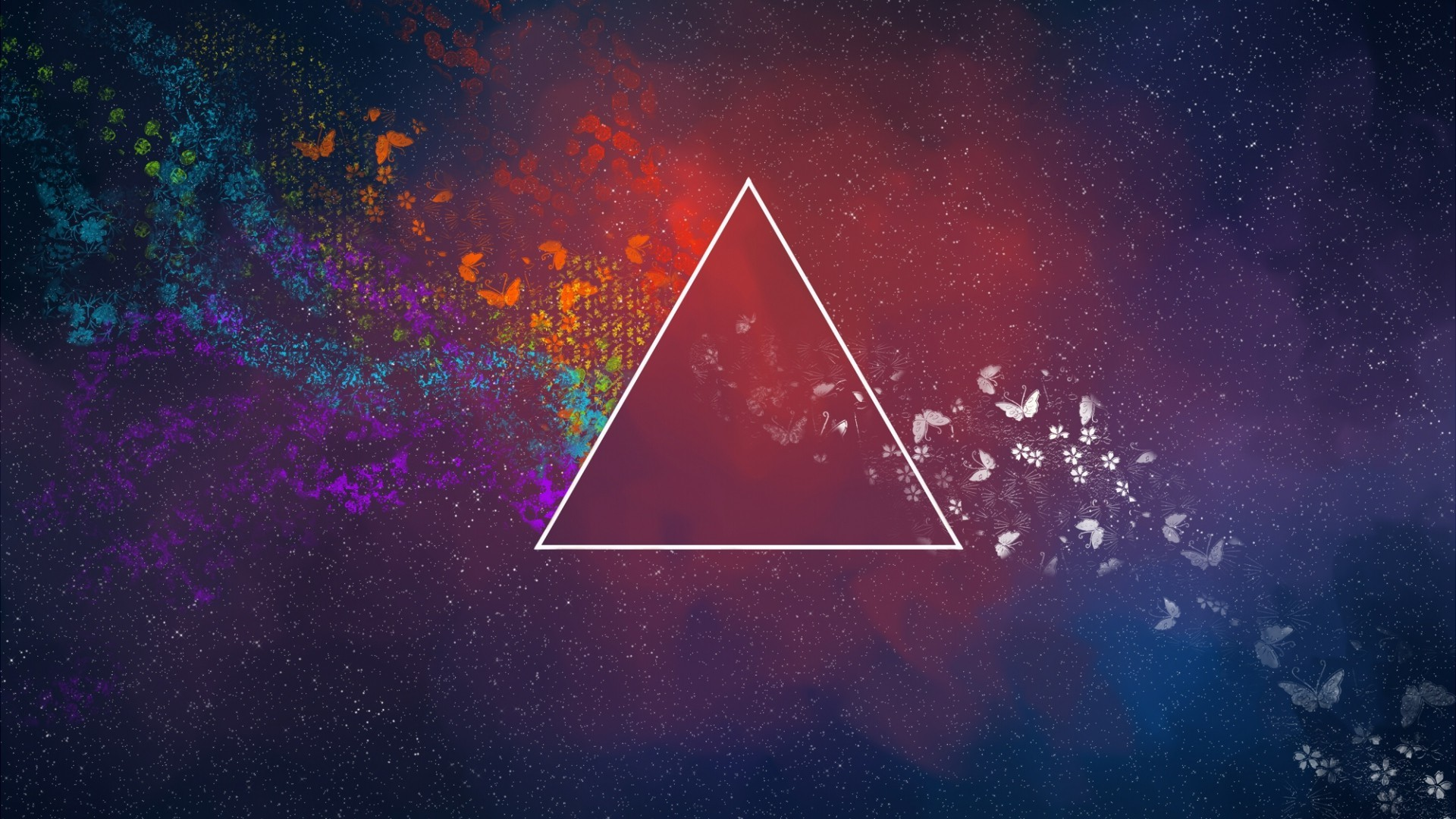 abstract, Triangle, Flowers, Pink Floyd, The Dark Side Of The Moon  Wallpapers HD / Desktop and Mobile Backgrounds